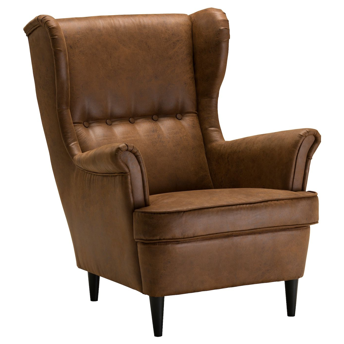 Latest Marisa Faux Leather Wingback Chairs Regarding Strandmon Wing Chair – Järstad Brown – Ikea (View 11 of 20)