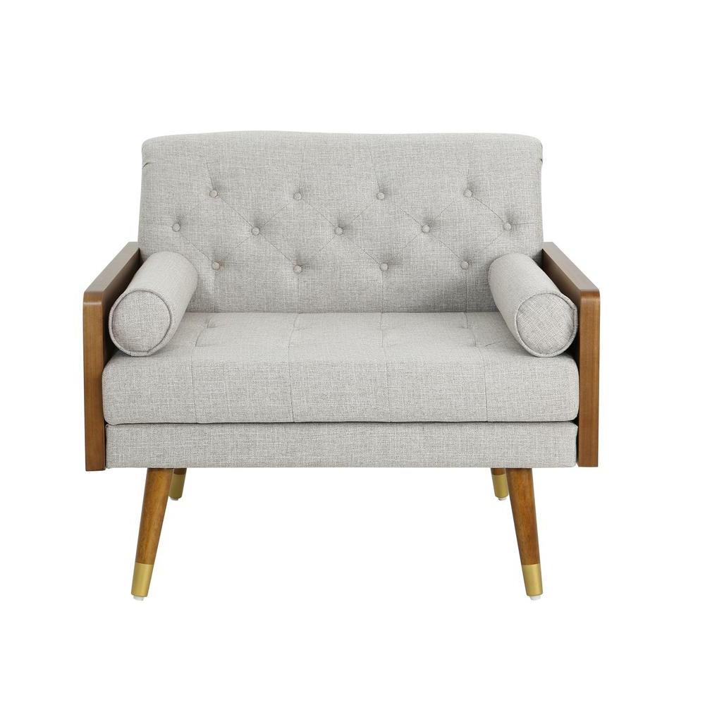 Latest Noble House Frankie Mid Century Modern Tufted Beige Fabric Club Chair, Beige/dark Walnut – Home Depot Regarding Alwillie Tufted Back Barrel Chairs (View 8 of 20)