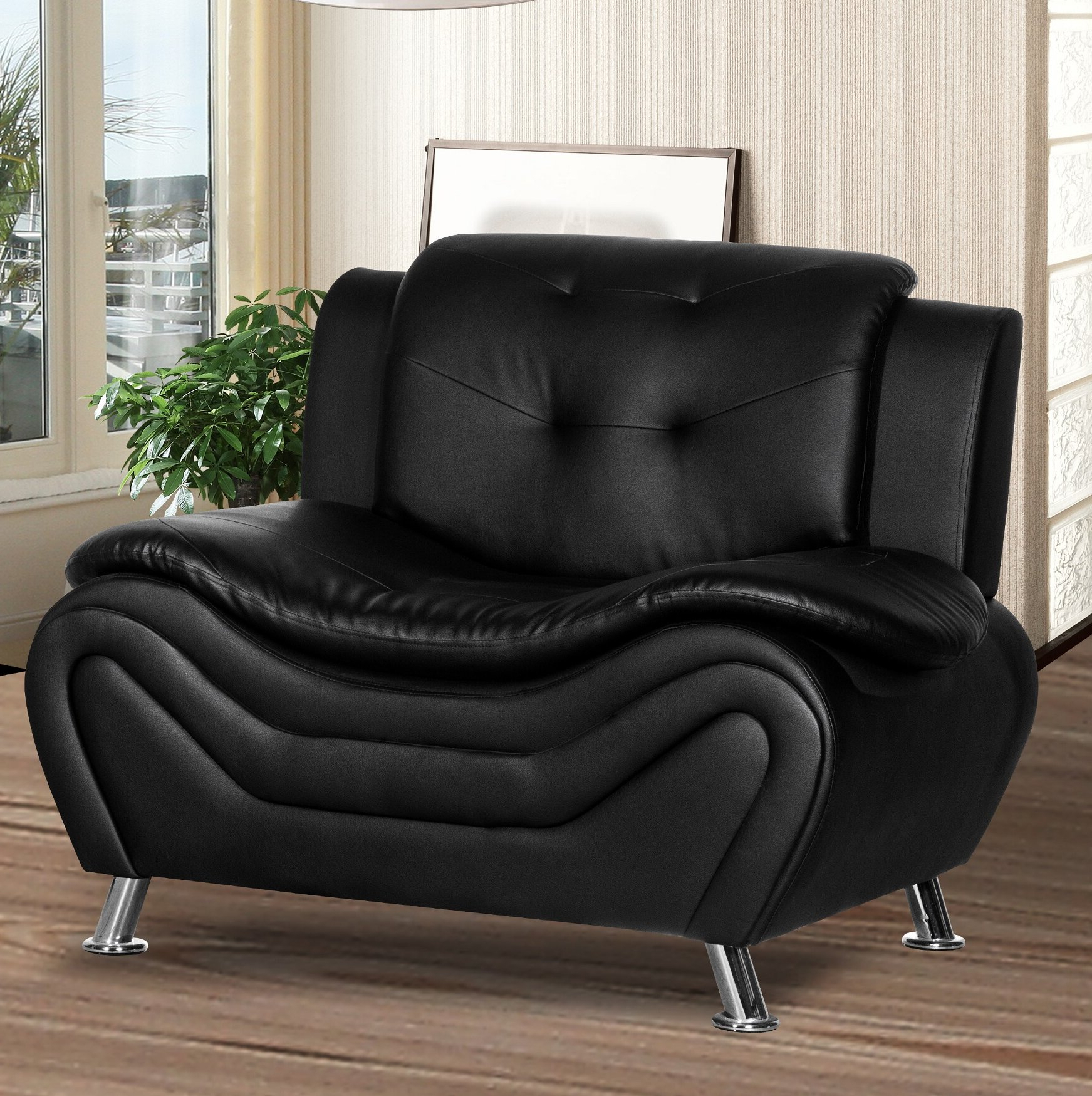 """Latest Sheldon Tufted Top Grain Leather Club Chairs Within Lizbeth 46"""" W Tufted Faux Leather Club Chair (View 16 of 20)"""