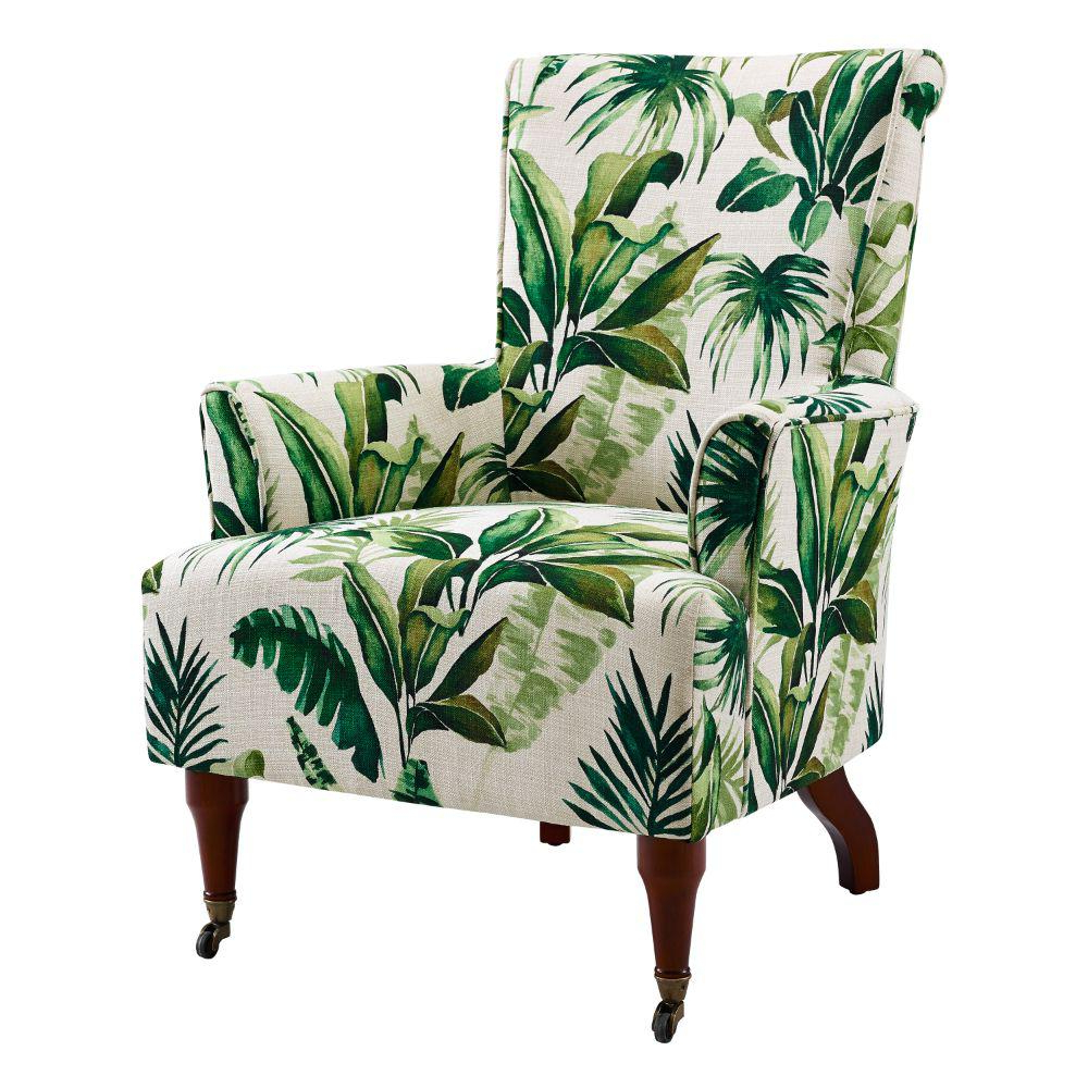 Leia Polyester Armchairs With Most Up To Date Benjara White And Green Polyester Upholstered Wooden Arm Chair With Leaf Motif Bm204926 – The Home Depot (View 18 of 20)