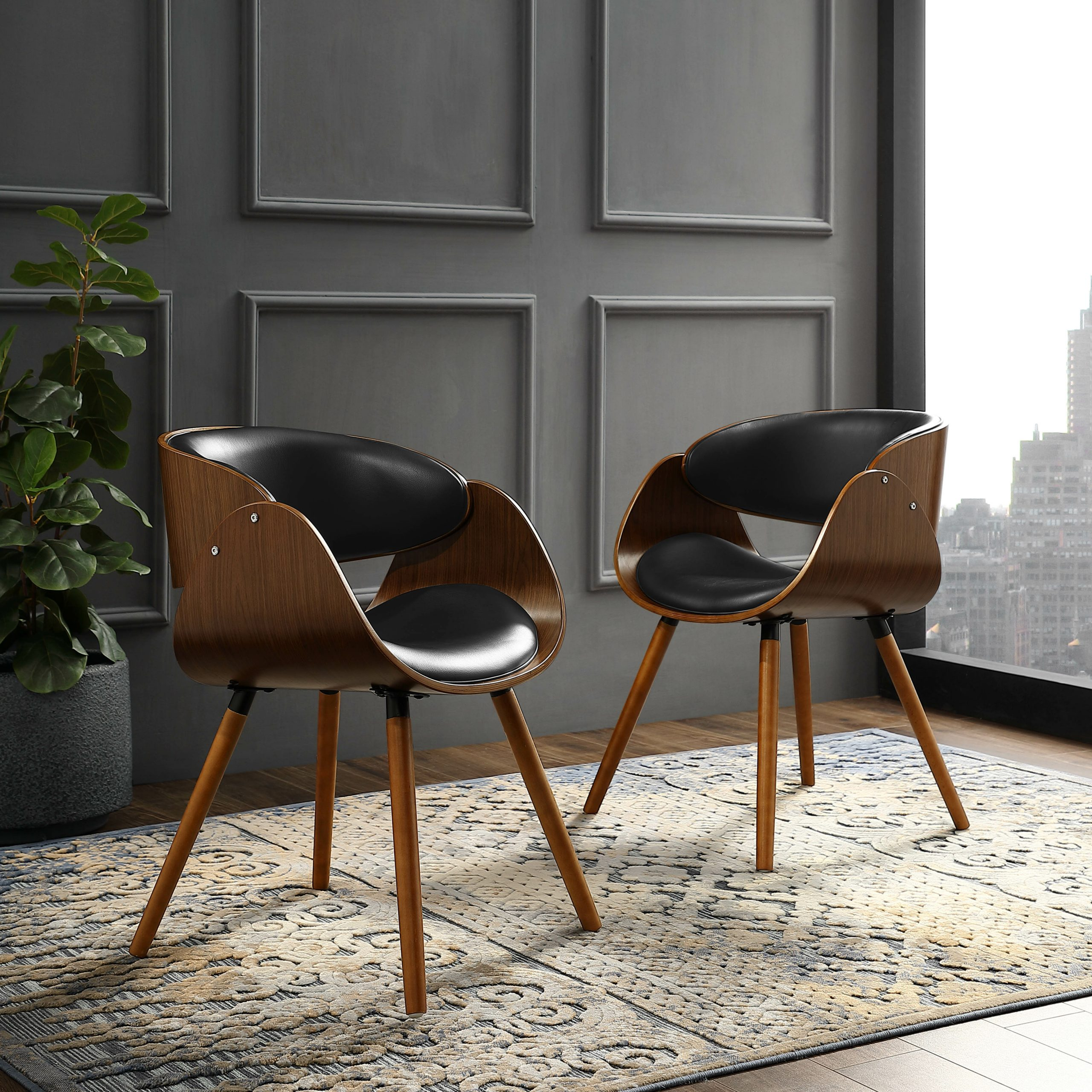 Liston Faux Leather Barrel Chairs Inside Popular Amora (View 6 of 20)