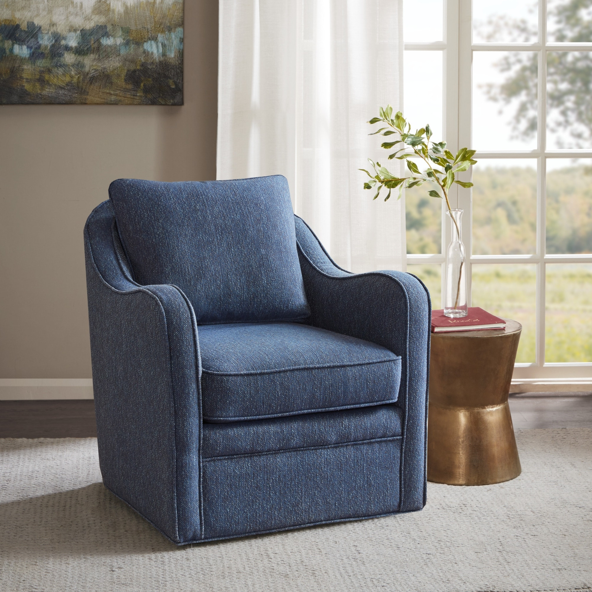 Loftus Swivel Armchairs With Regard To Well Known Madison Park Betty Slub Weave Wide Seat Swivel Arm Chair (View 19 of 20)