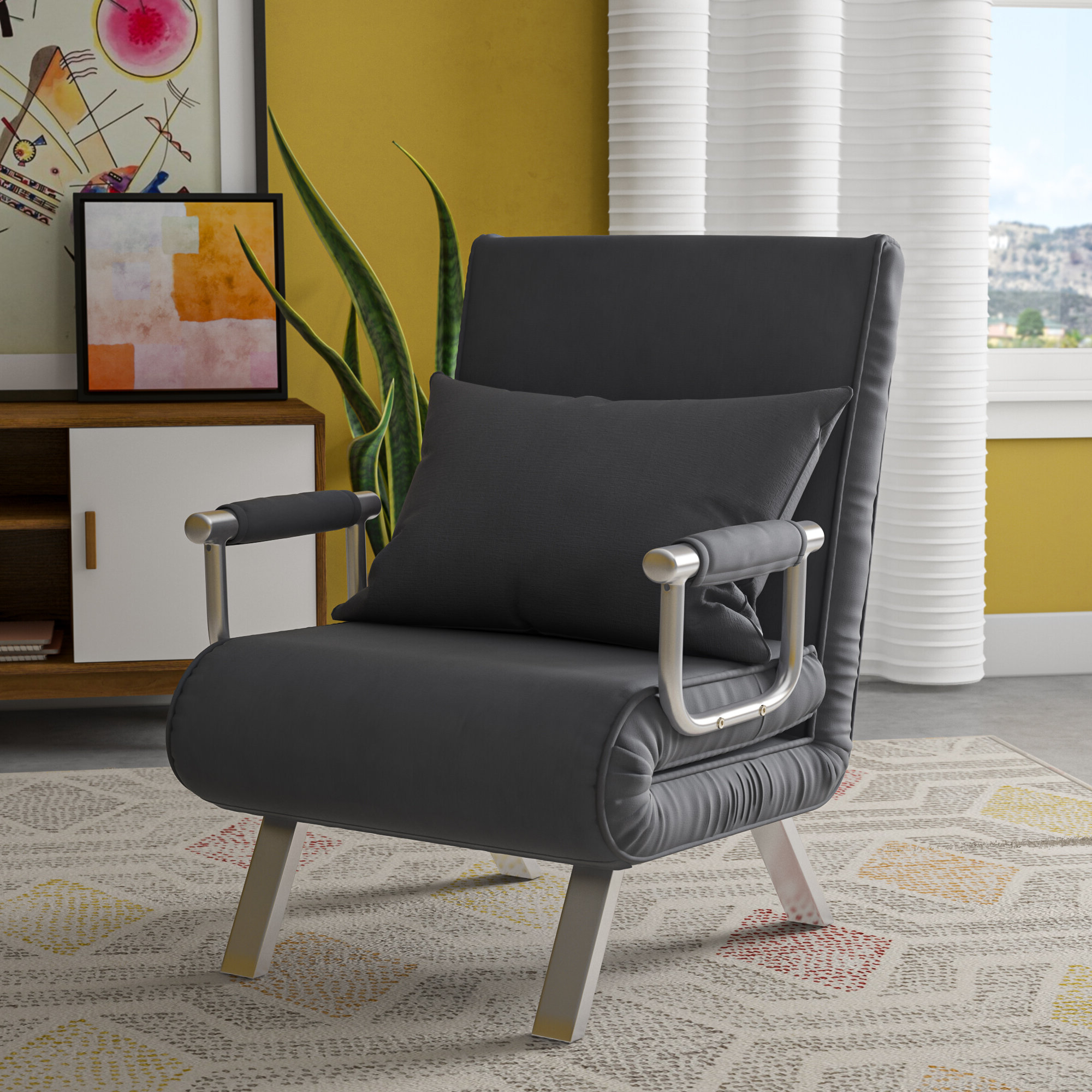 Longoria Convertible Chair Intended For Widely Used Perz Tufted Faux Leather Convertible Chairs (View 15 of 20)