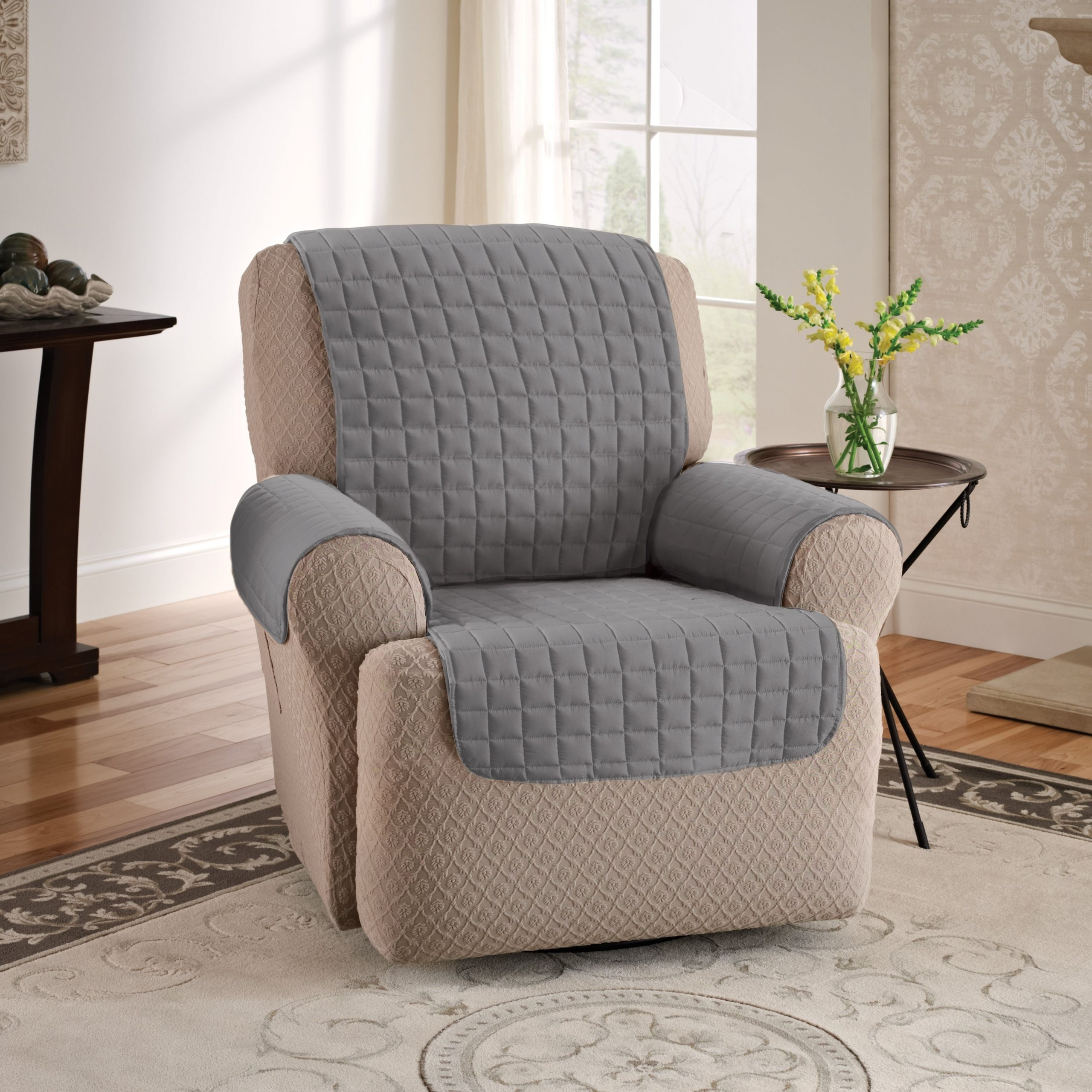 Loose Armchair Covers Protective Quilted Recliner Chair Arm Within Recent Portmeirion Armchairs (View 8 of 20)