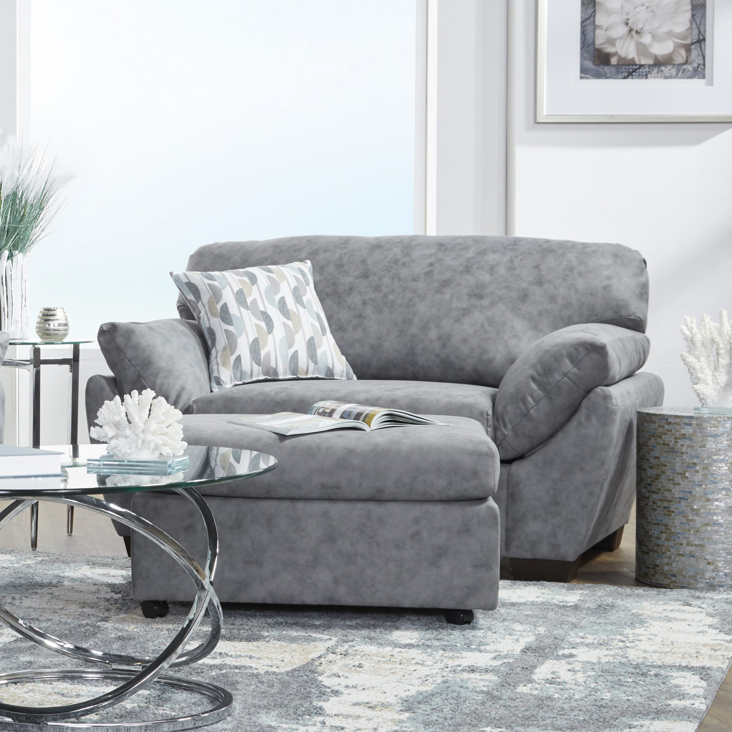 Lore Modern Fabric Pillow Arm Chair With Ottoman In Dolphin Bay Gray – Walmart Throughout Trendy Modern Armchairs And Ottoman (View 15 of 20)