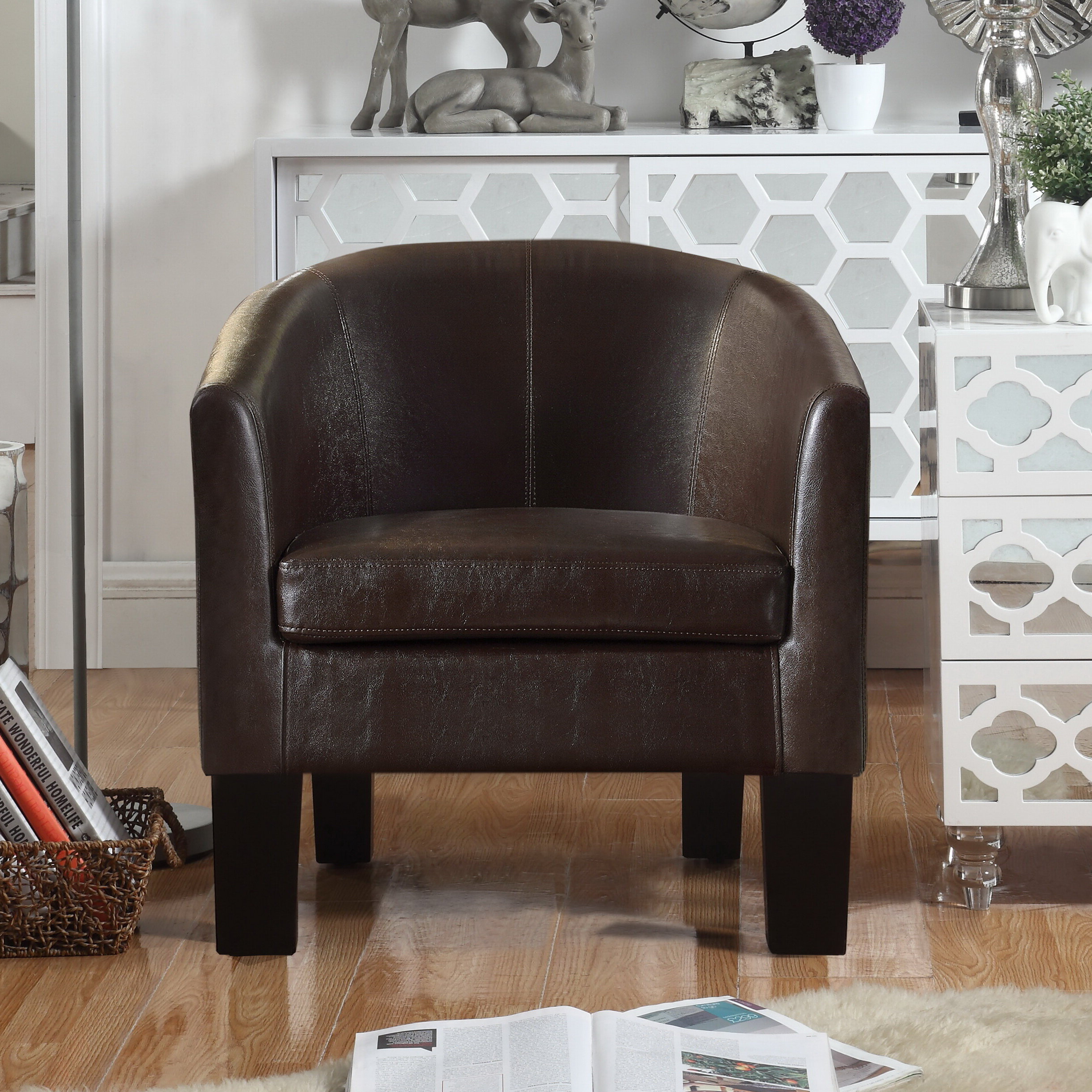 "Lucea Faux Leather Barrel Chairs And Ottoman Pertaining To 2020 Franky 26"" W Faux Leather Barrel Chair (View 4 of 20)"