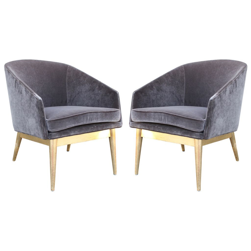 Lucea Faux Leather Barrel Chairs And Ottoman With Regard To Most Recently Released Luxe Pair Of Gold Leaf And Grey Velvet Barrel Back Lounge (View 8 of 20)