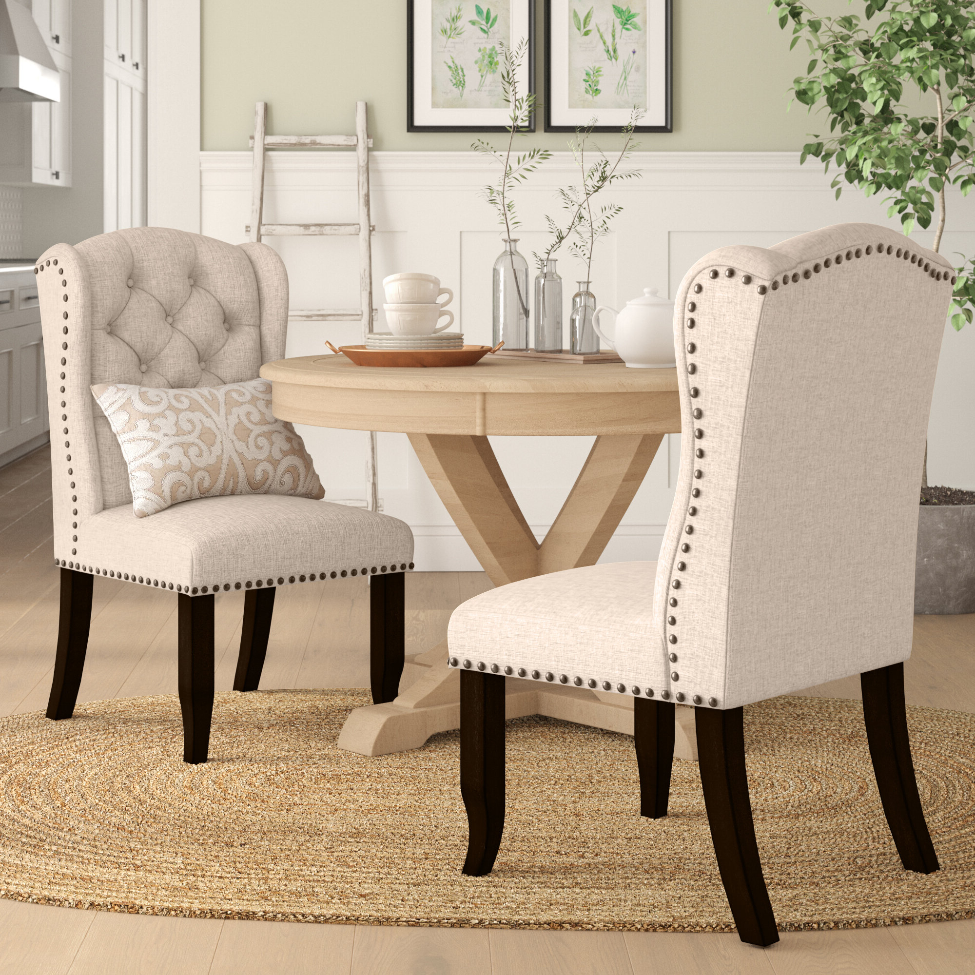 Madison Avenue Tufted Cotton Upholstered Dining Chairs (set Of 2) Inside Latest Black Nailhead Kitchen & Dining Chairs You'll Love In (View 13 of 20)