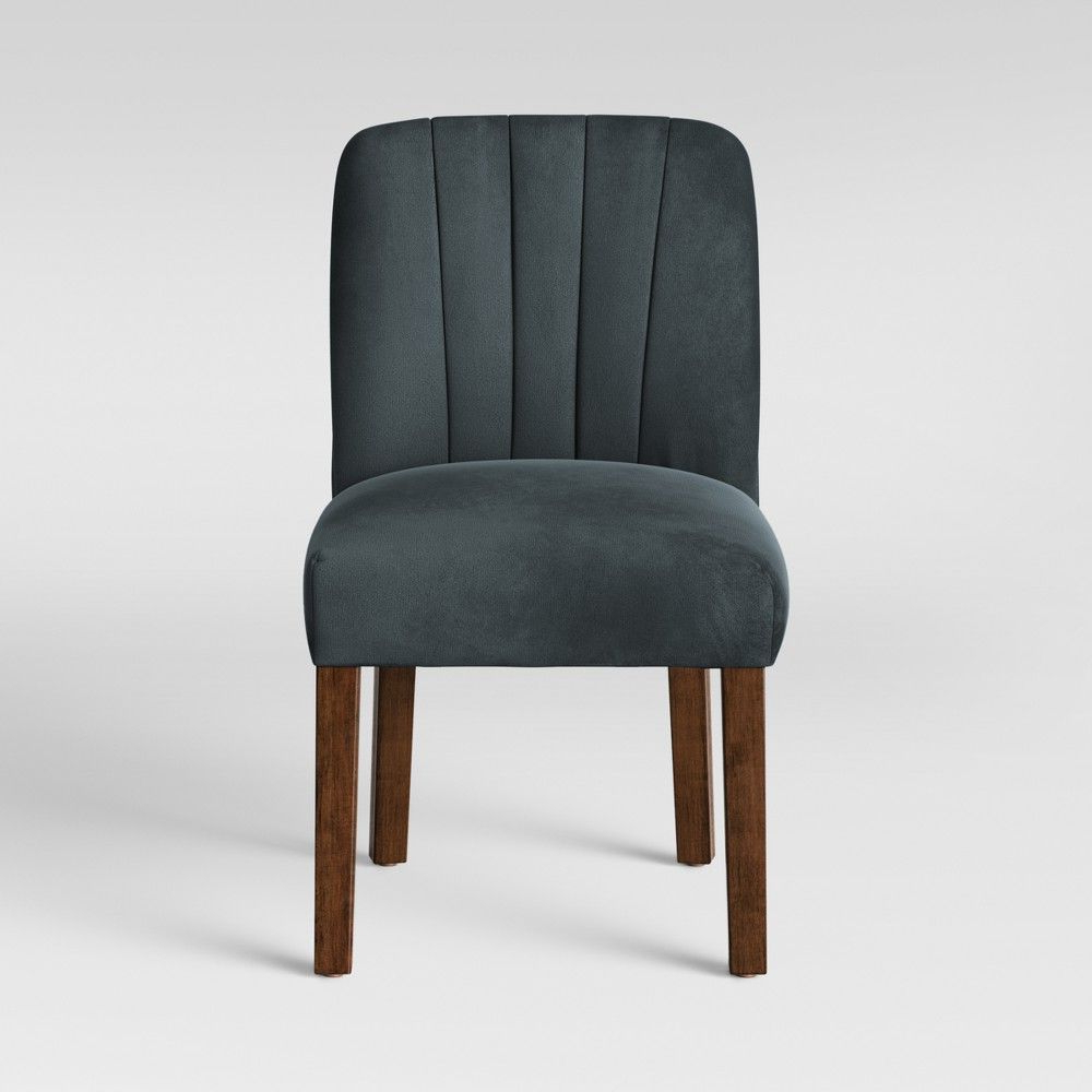 Malia Channel Back Tufted Dining Chair Velvet Blue Pertaining To Fashionable Aaliyah Parsons Chairs (View 9 of 20)