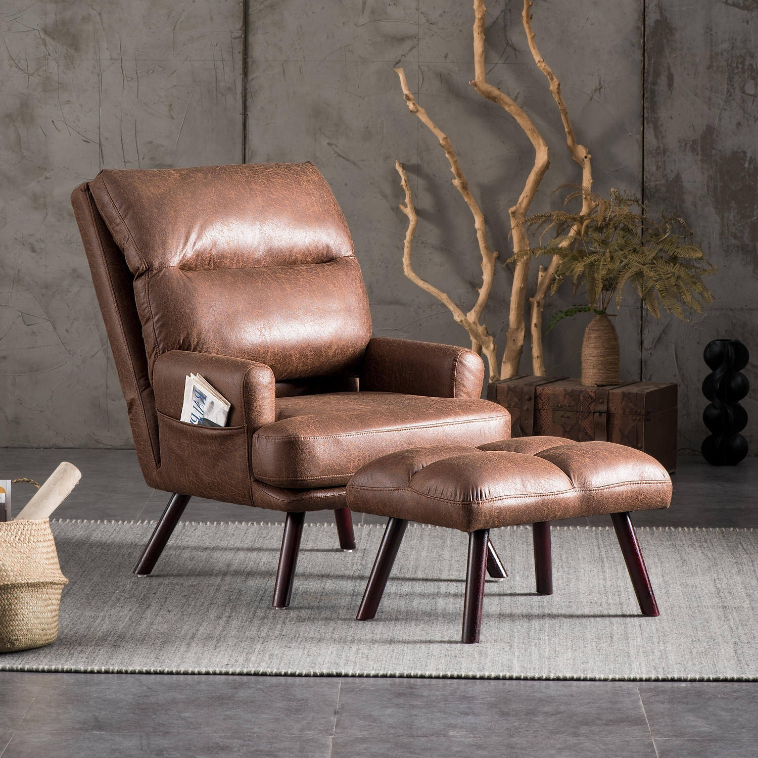 Marisa Faux Leather Wingback Chairs In Latest Ovios Velvet Recliner Chair With Ottoman – Overstock –  (View 16 of 20)