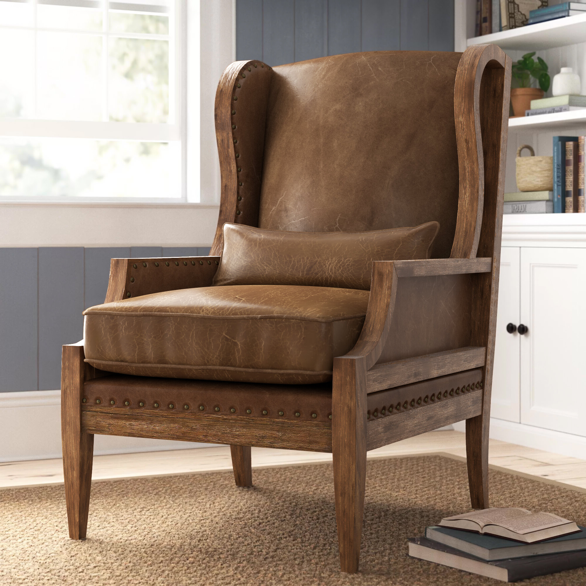 "Marisa Faux Leather Wingback Chairs Intended For Favorite Laurel 28"" W Wingback Chair (View 12 of 20)"