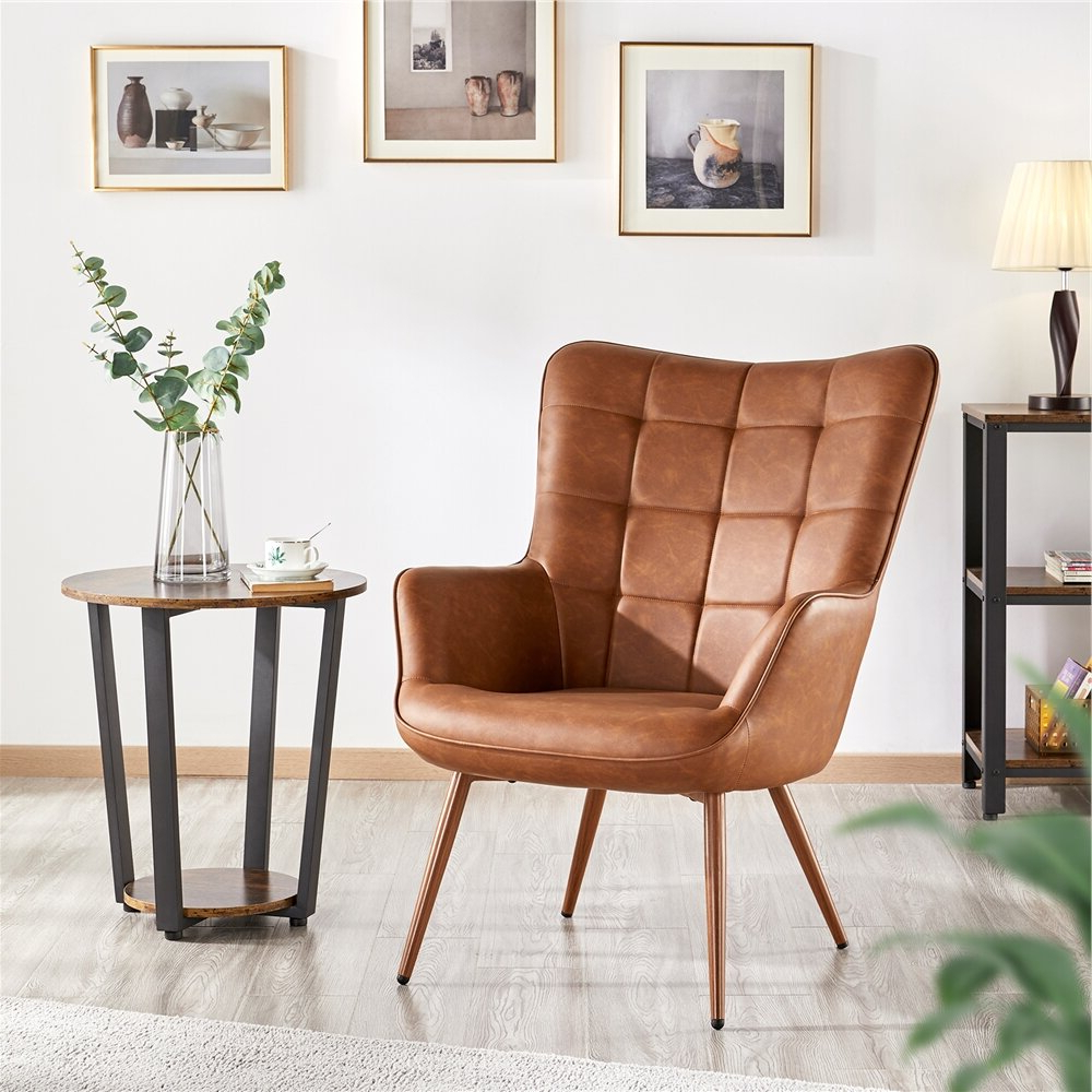 Featured Photo of Marisa Faux Leather Wingback Chairs