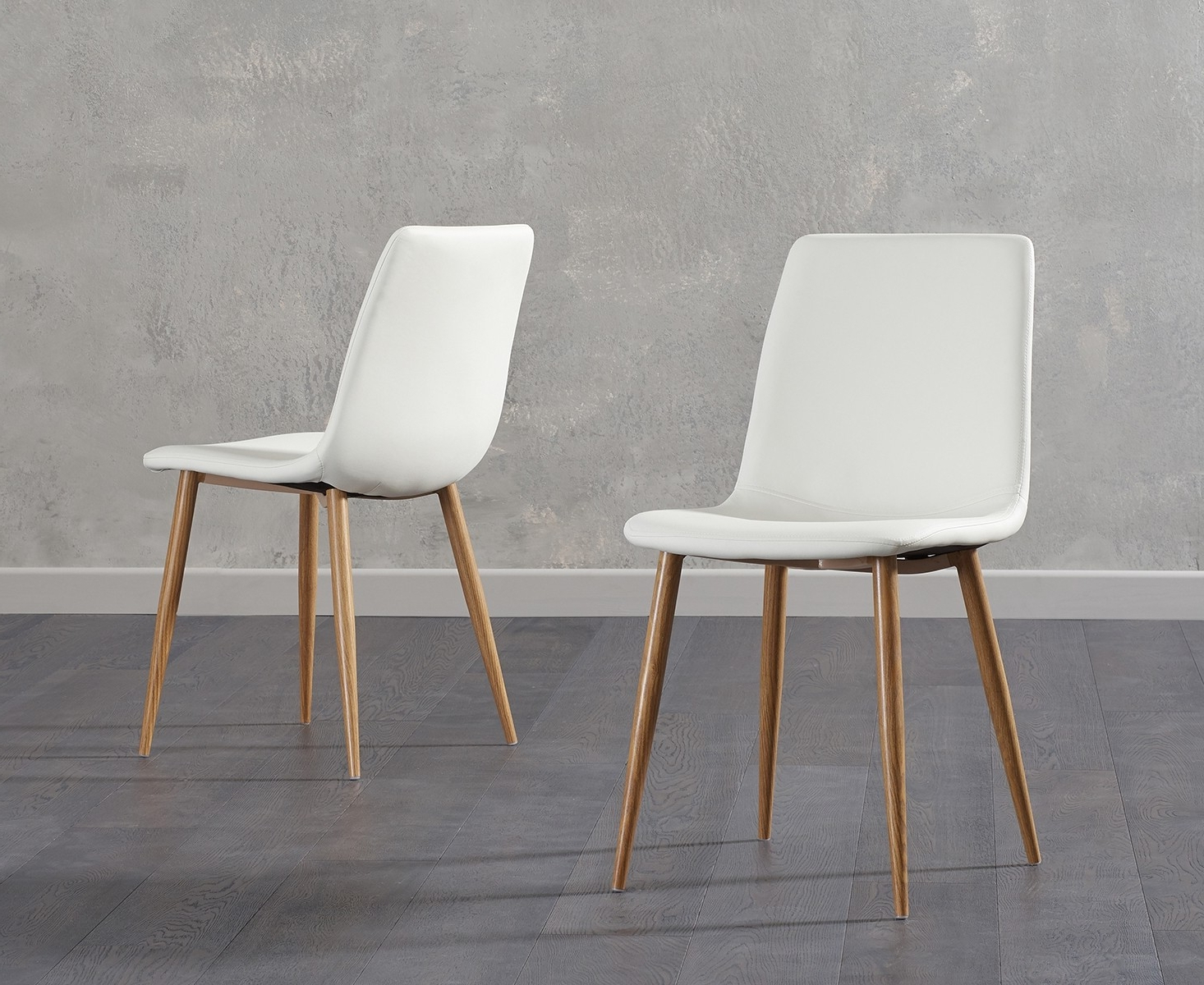 Mark Harris Hatfield White Faux Leather Dining Chair With Wooden Legs  (pair) – Cfs Furniture Uk Inside Latest Carlton Wood Leg Upholstered Dining Chairs (View 10 of 20)