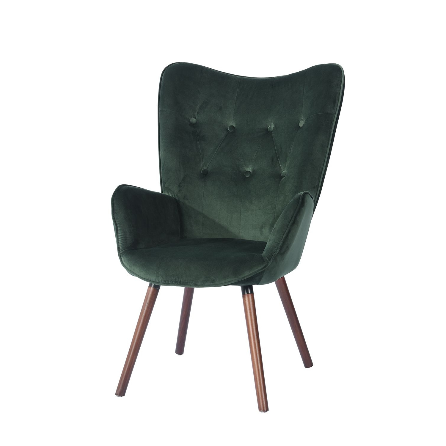 Maubara Tufted Wingback Chairs Within Fashionable Wingback Accent Armchair Velvet Green Fabric Kd Solid Wood (View 20 of 20)