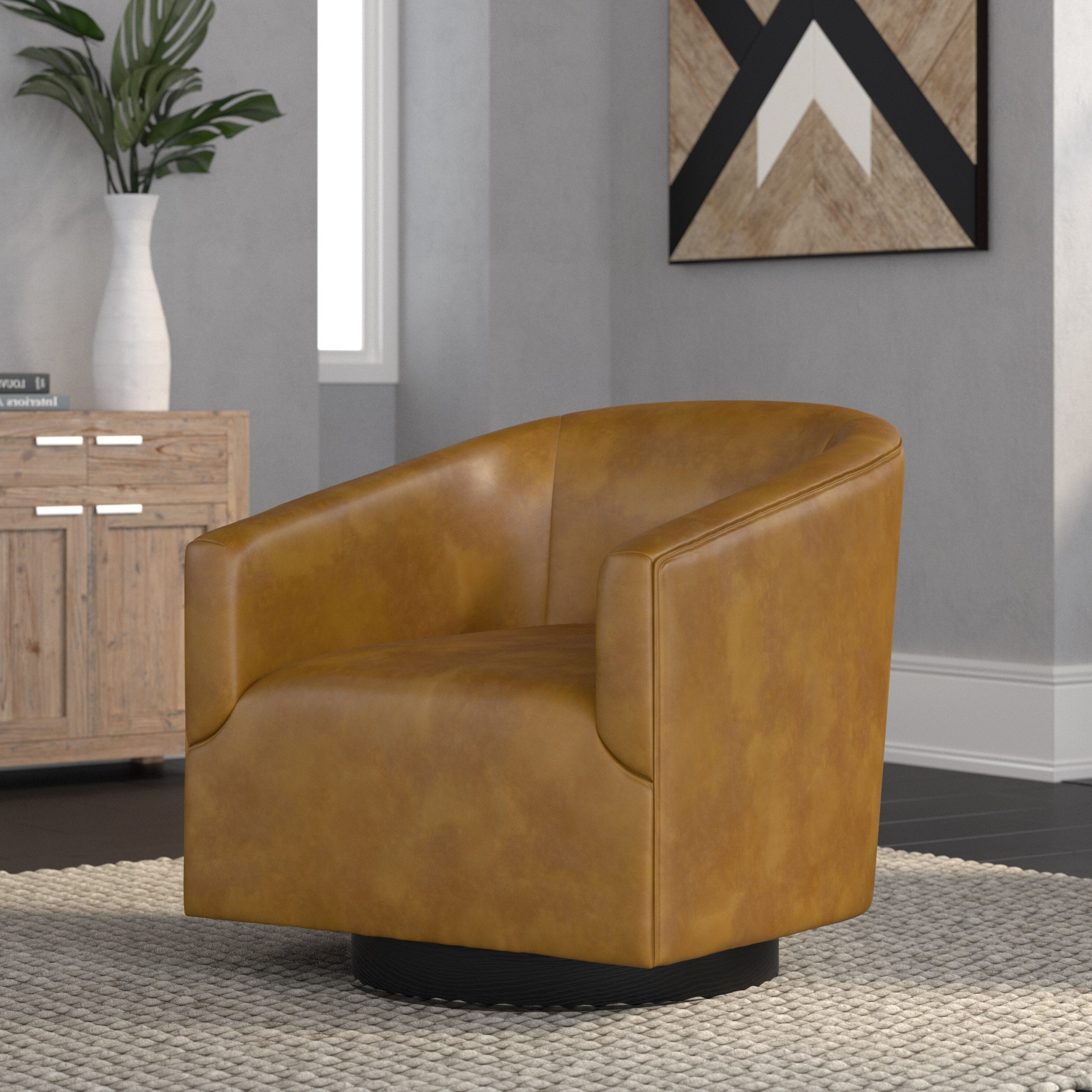 "Mcintyre 30"" W Faux Leather Swivel Barrel Chair With Recent Faux Leather Barrel Chairs (View 15 of 20)"