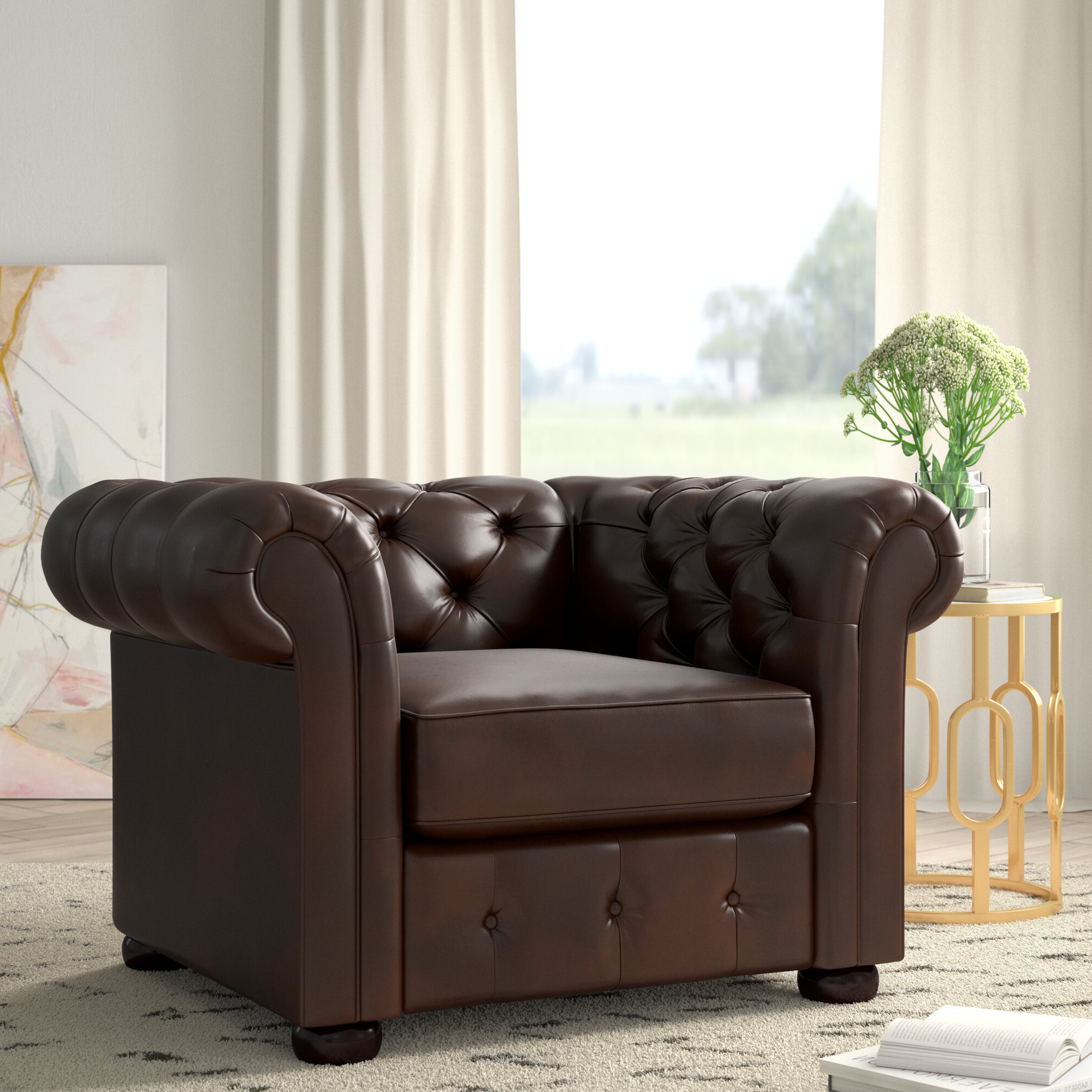 Minnie Chesterfield Chair In 2019 Marisa Faux Leather Wingback Chairs (View 18 of 20)