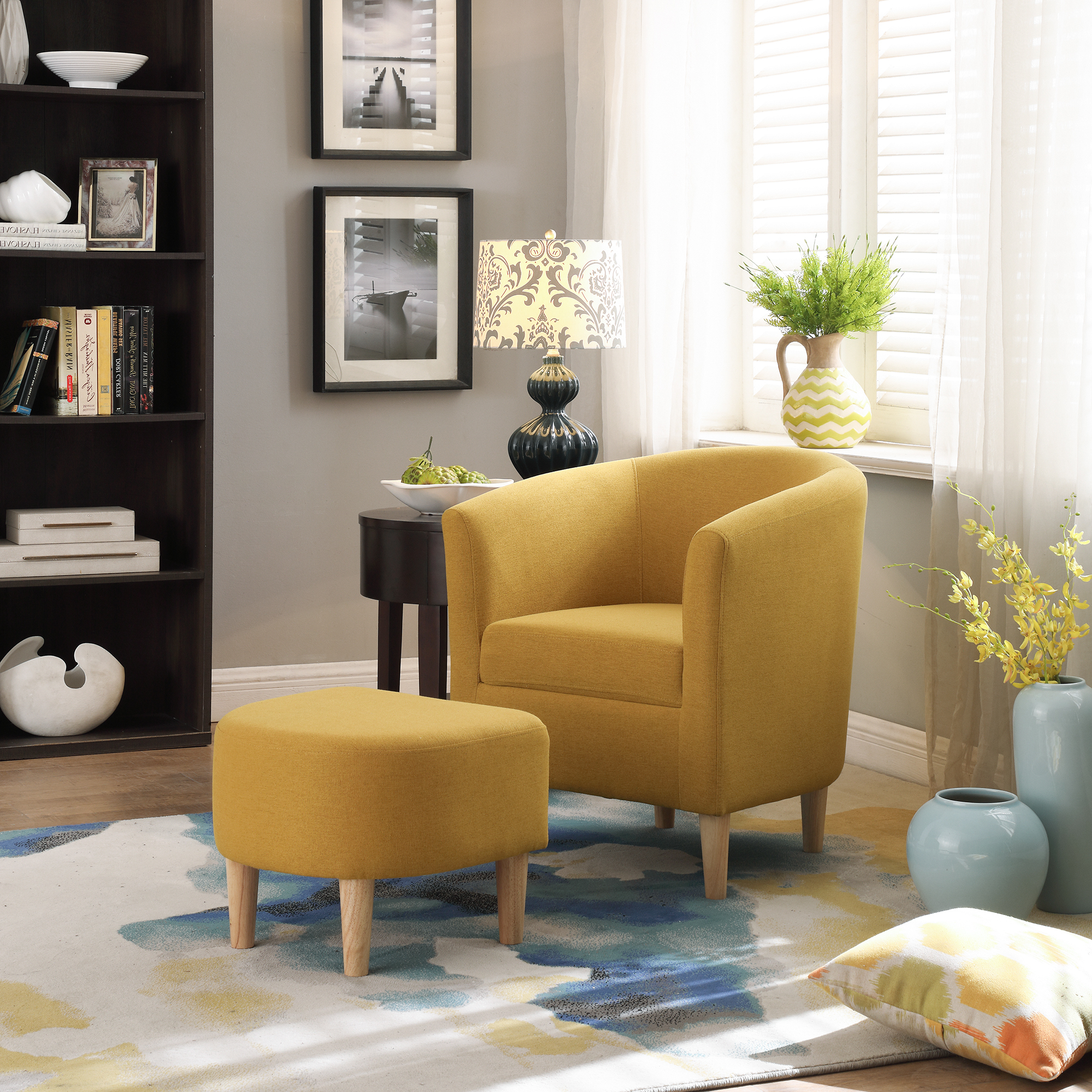 Modern Accent Arm Chair Upholstered Chair Fabric Single Sofa + Ottoman Foot Rest Yellow – Walmart For Latest Modern Armchairs And Ottoman (View 11 of 20)