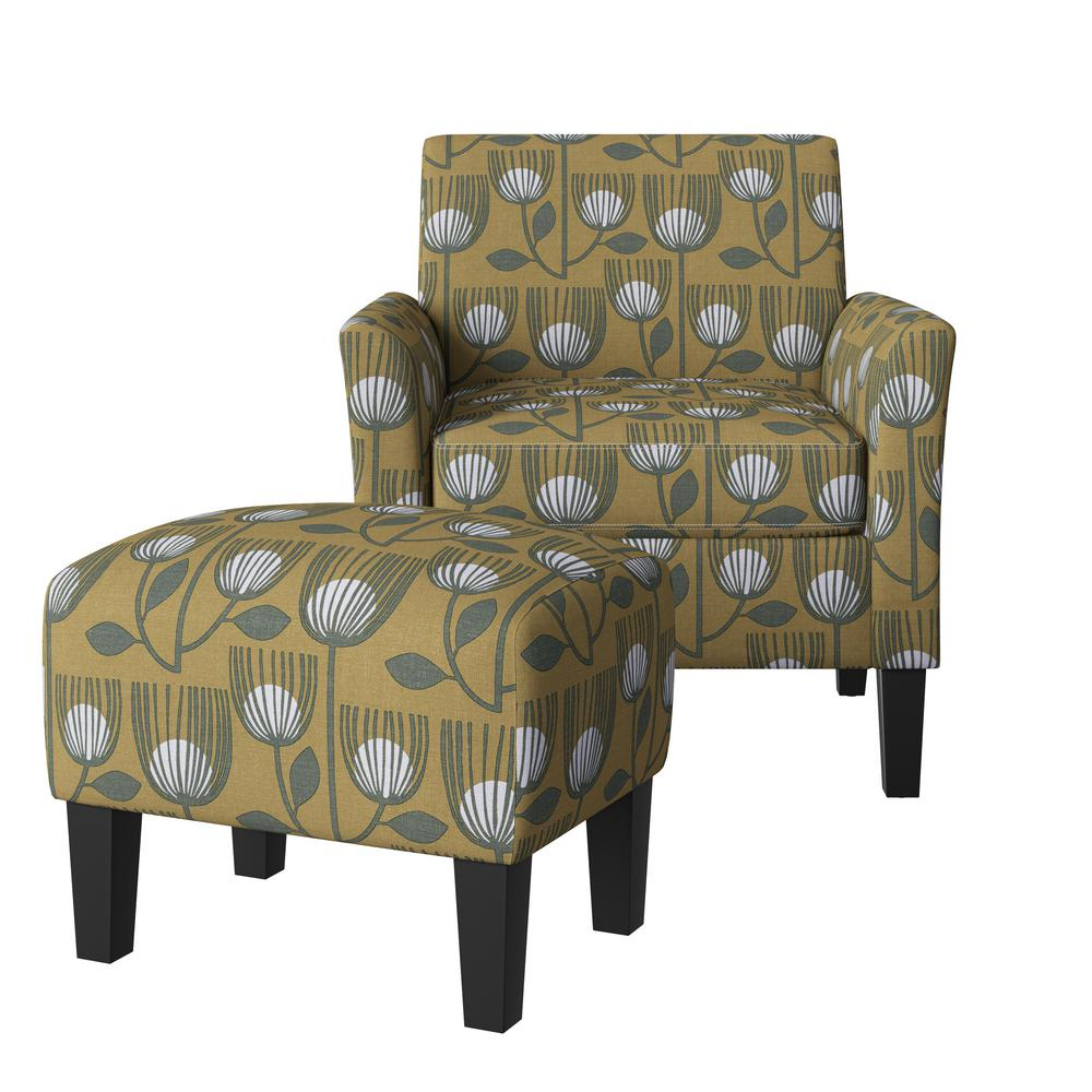 Modern Armchairs And Ottoman In Newest Handy Living Mimi Rose Half Round Gold Modern Tulip Print Arm Chair And Ottoman Set A157704 – The Home Depot (View 19 of 20)