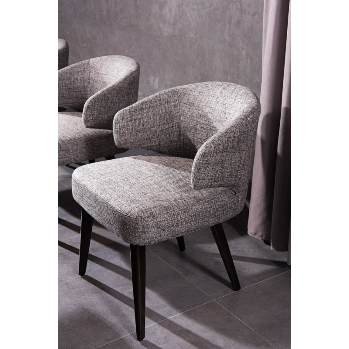 Modrest Carlton Grey Fabric Dining Chair Within Widely Used Carlton Wood Leg Upholstered Dining Chairs (View 5 of 20)
