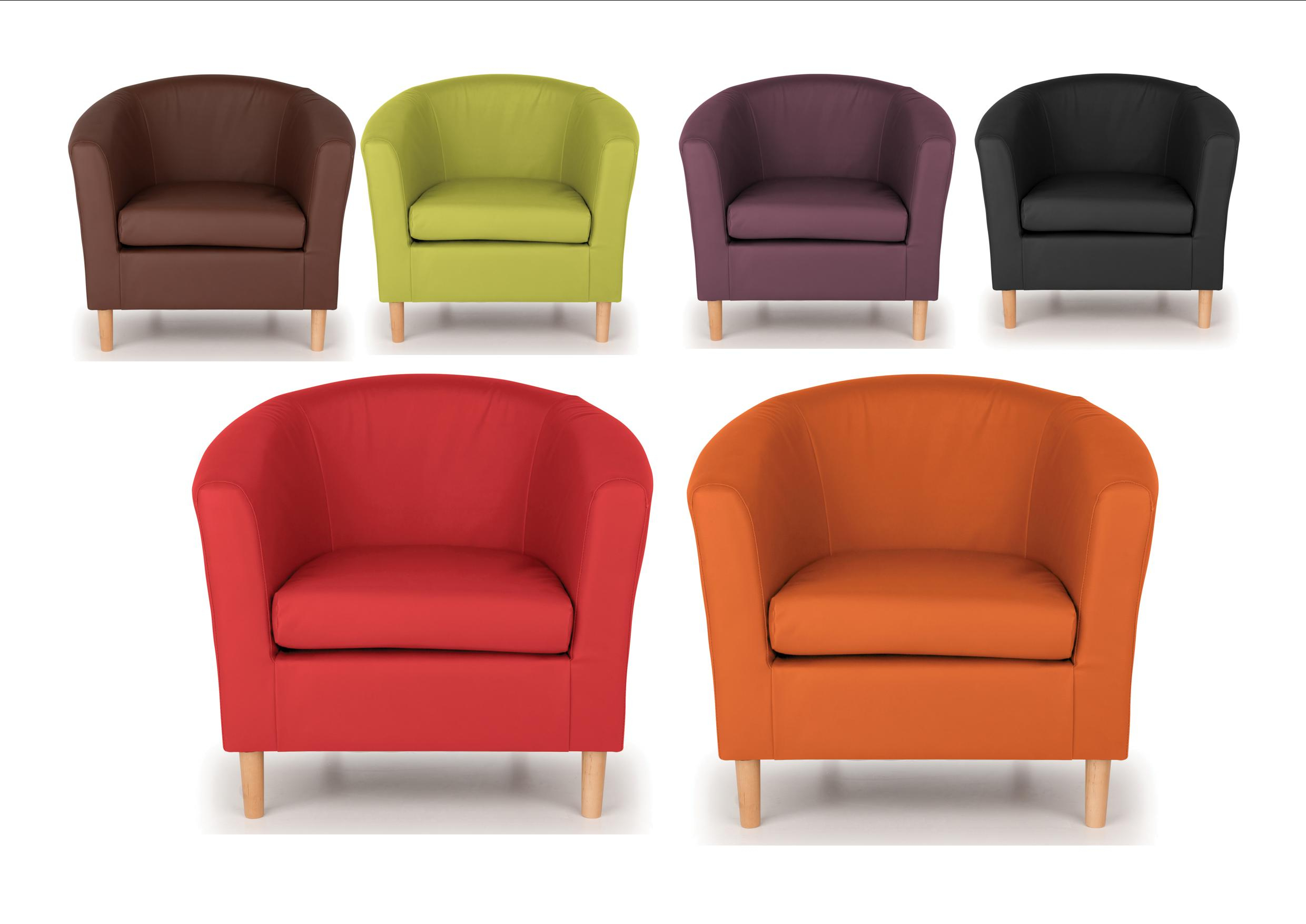 Montenegro Faux Leather Club Chairs With Regard To Well Known Details About Nicole Tub Chairs – Brown, Black Lime, Orange, Plum, Red – Modern Design (View 7 of 20)