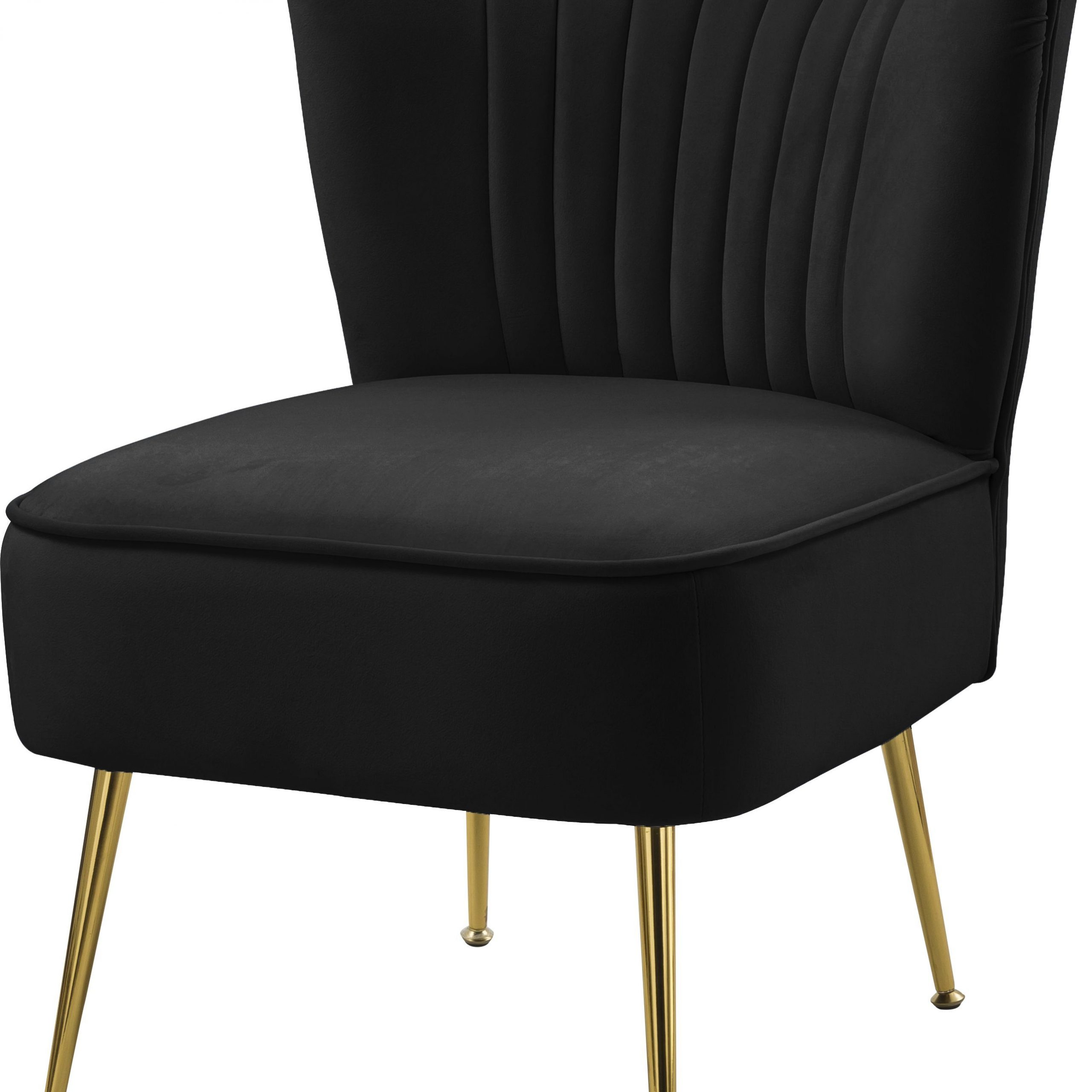 Most Current Daulton Velvet Side Chairs Pertaining To Black Tess Velvet Accent Chair (View 14 of 20)