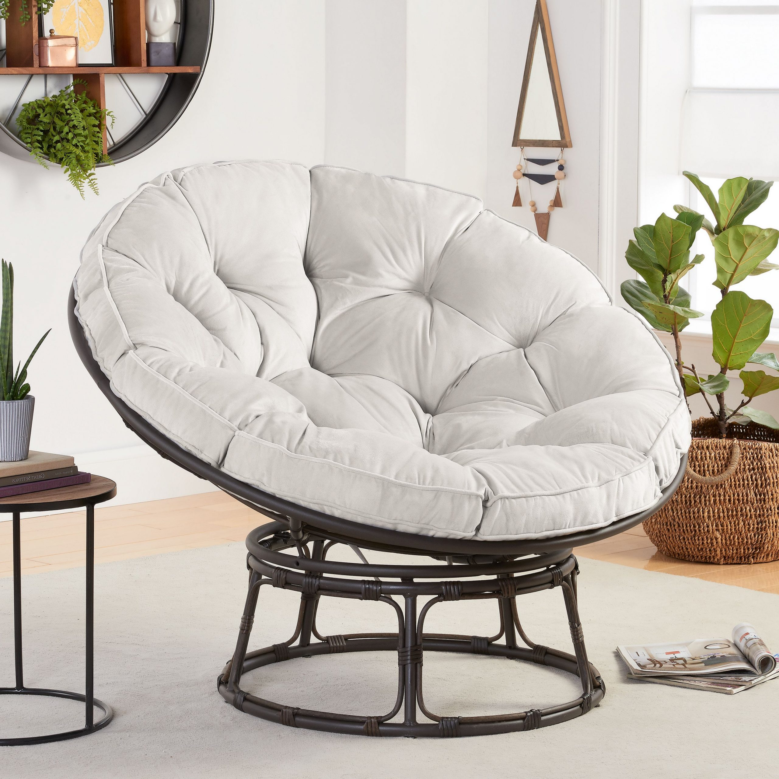 Most Current Decker Papasan Chairs With Better Homes & Gardens Papasan Chair With Fabric Cushion, Pumice Gray – Walmart (View 2 of 20)