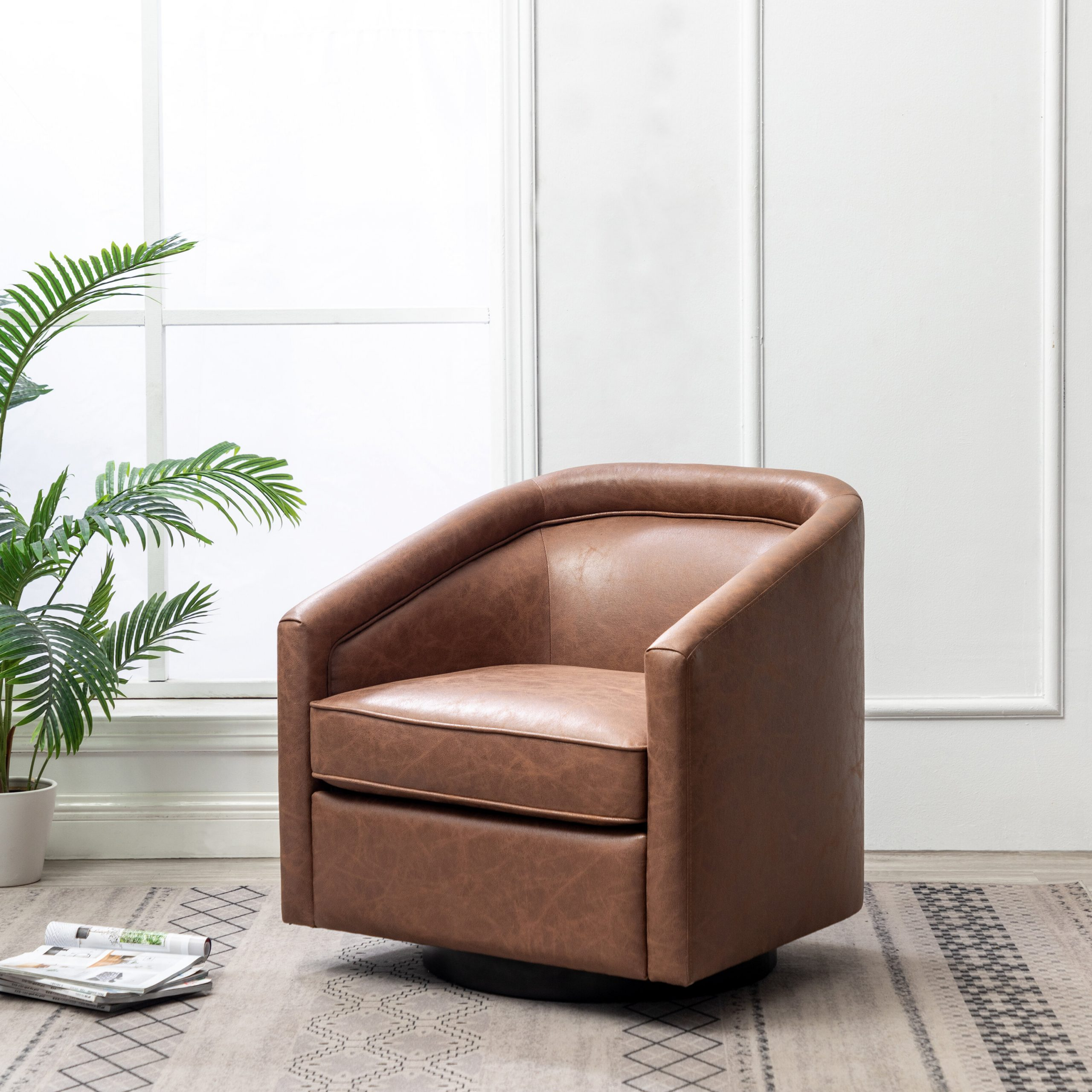 Featured Photo of Hazley Faux Leather Swivel Barrel Chairs