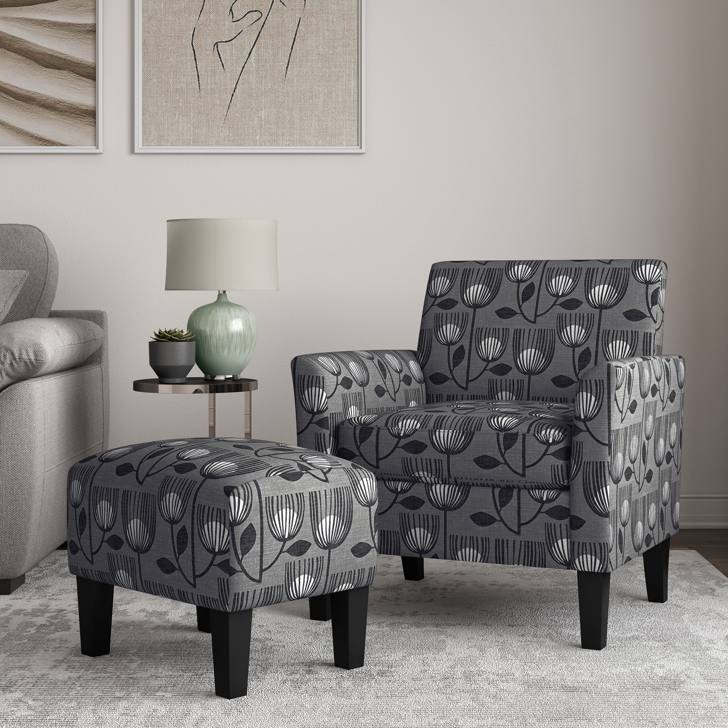Most Popular Andover Mills™ Reese Flared Armchair And Ottoman & Reviews In Michalak Cheswood Armchairs And Ottoman (View 5 of 20)