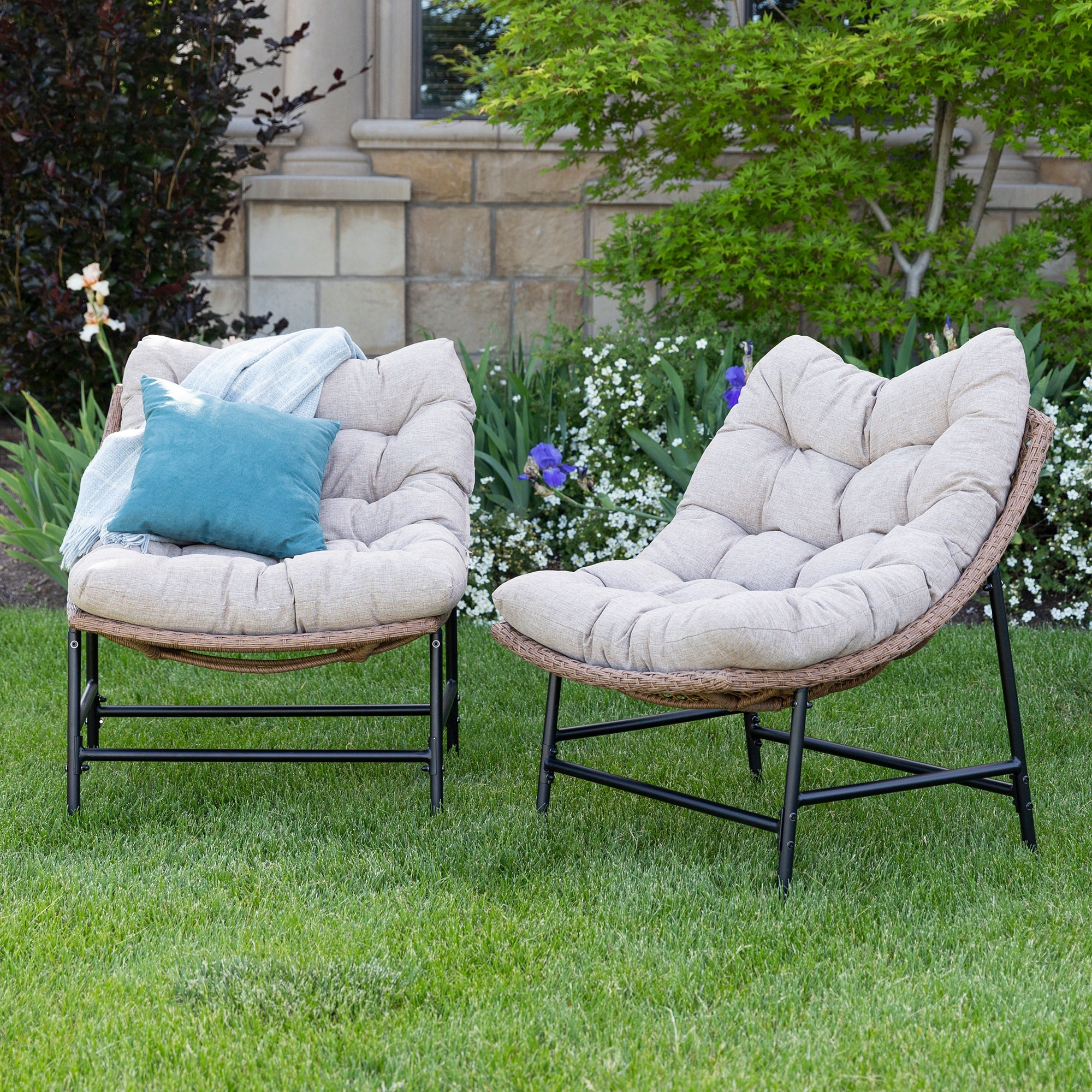 Most Popular Decker Papasan Chairs Inside Outdoor Rattan Papasan Chairs With Cushions, Set Of (View 18 of 20)