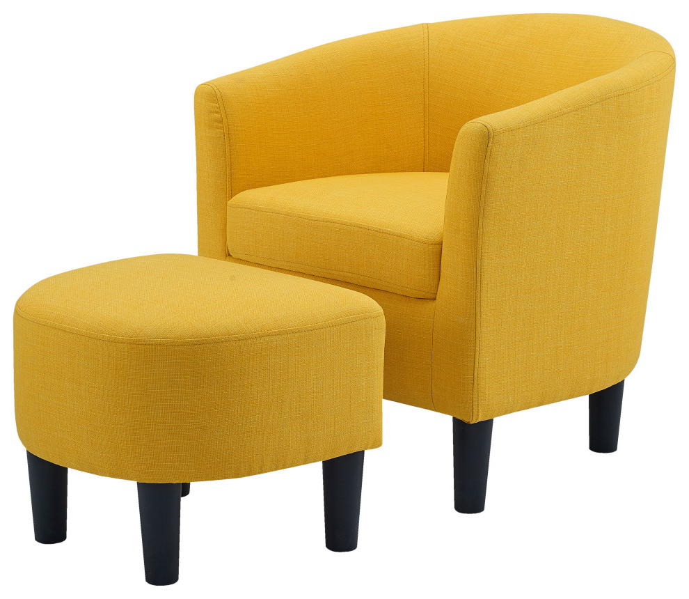Most Popular Jazouli Linen Barrel Chairs And Ottoman Regarding Camilla Fabric Barrel Chair With Ottoman, Yellow (View 11 of 20)