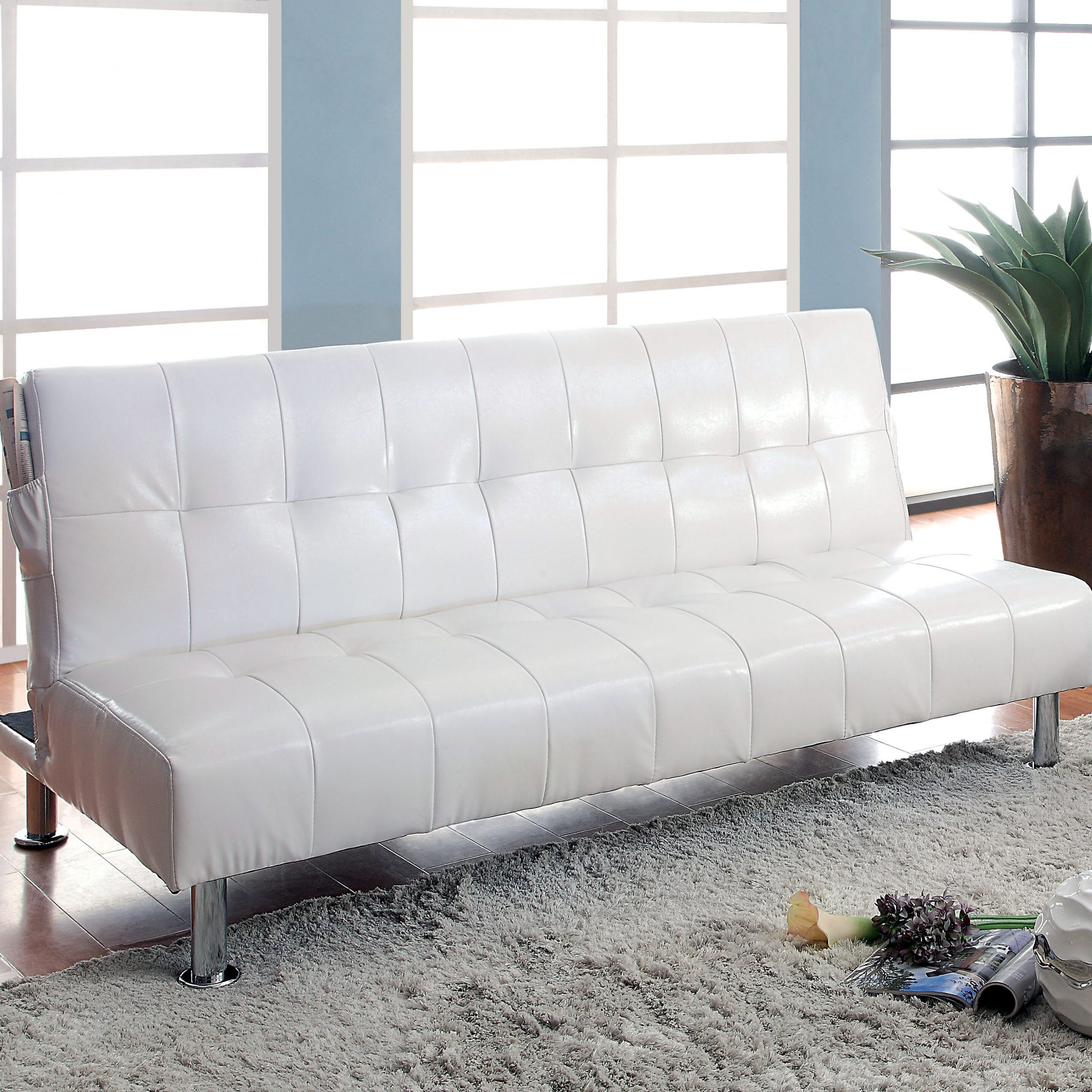 Most Popular Perz Tufted Faux Leather Convertible Chairs Throughout Perz Tufted Convertible Sofa (View 5 of 20)