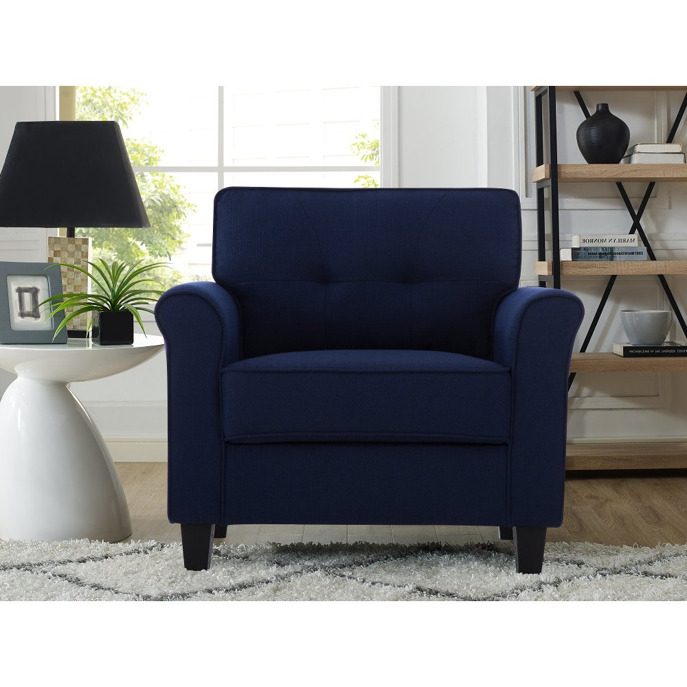 Most Recent Belz Tufted Polyester Armchairs In Classic Contemporary Navy Blue Chair – Hanson (View 13 of 20)