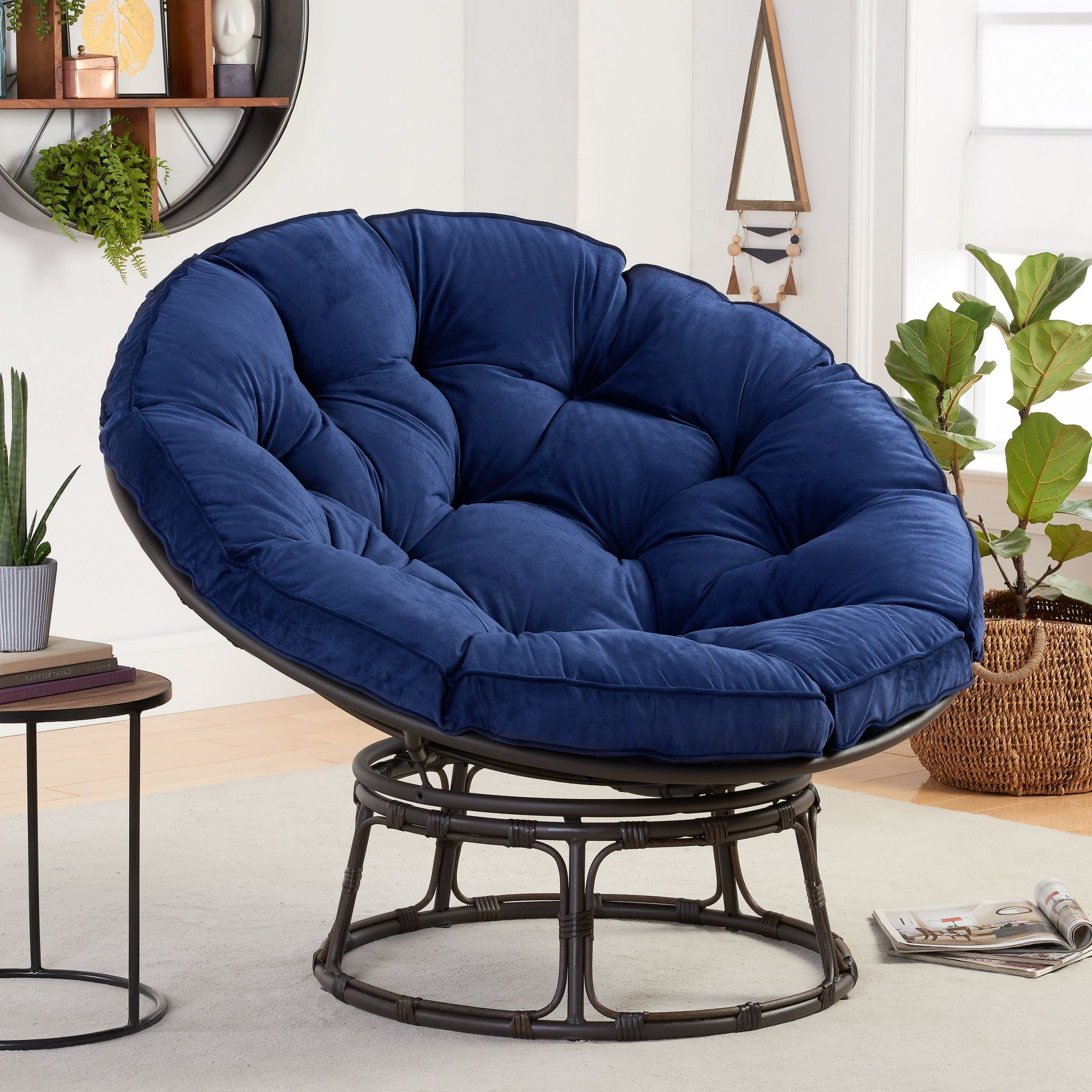 Most Recent Decker Papasan Chairs Inside Better Homes & Gardens Papasan Chair With Fabric Cushion, Navy – Walmart (View 7 of 20)
