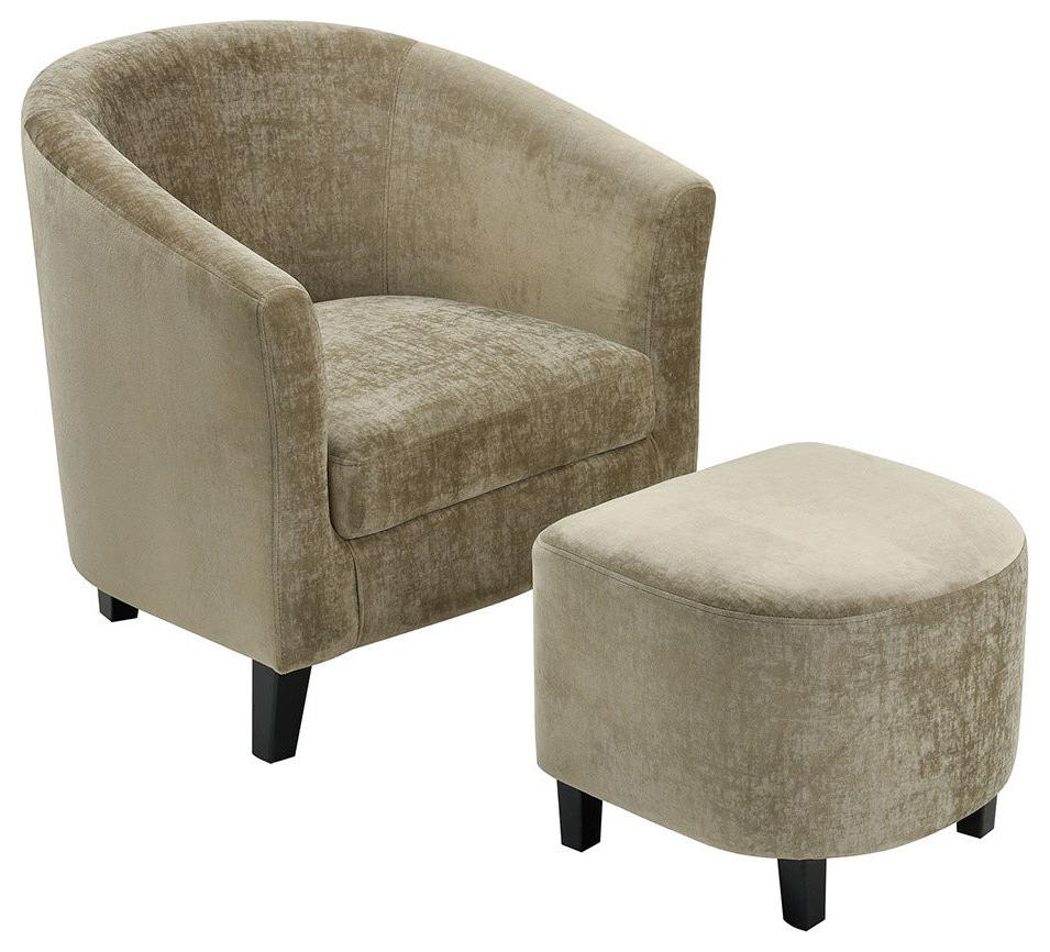 Most Recent Elana Barrel Chair And Ottoman Set In Faux Leather Barrel Chair And Ottoman Sets (View 9 of 20)