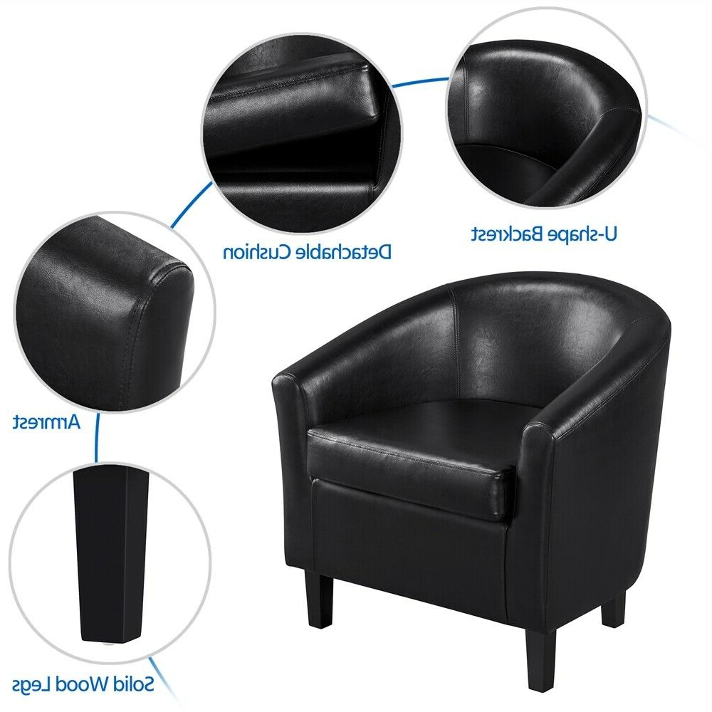 Most Recent Faux Leather Barrel Chair And Ottoman Sets Inside Faux Leather Club Chair And Ottoman Set Armchair With Ottoman For Living  Room (View 17 of 20)