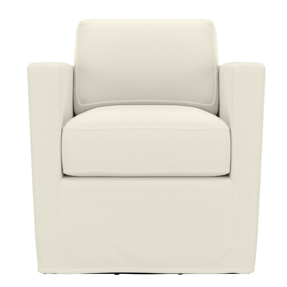 Most Recent Handy Living Anastasia Creamy White Brushed Velvet Swivel Club Chair – Home Depot With Regard To Molinari Swivel Barrel Chairs (View 20 of 20)