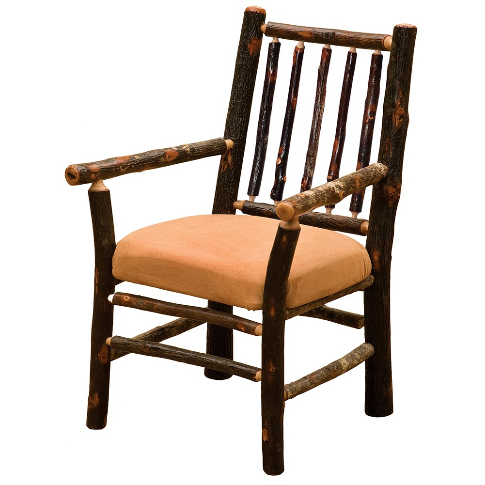 Most Recent Hickory Spoke Back Arm Chair With Fabric: Cabin Place Regarding Deer Trail Armchairs (View 14 of 20)