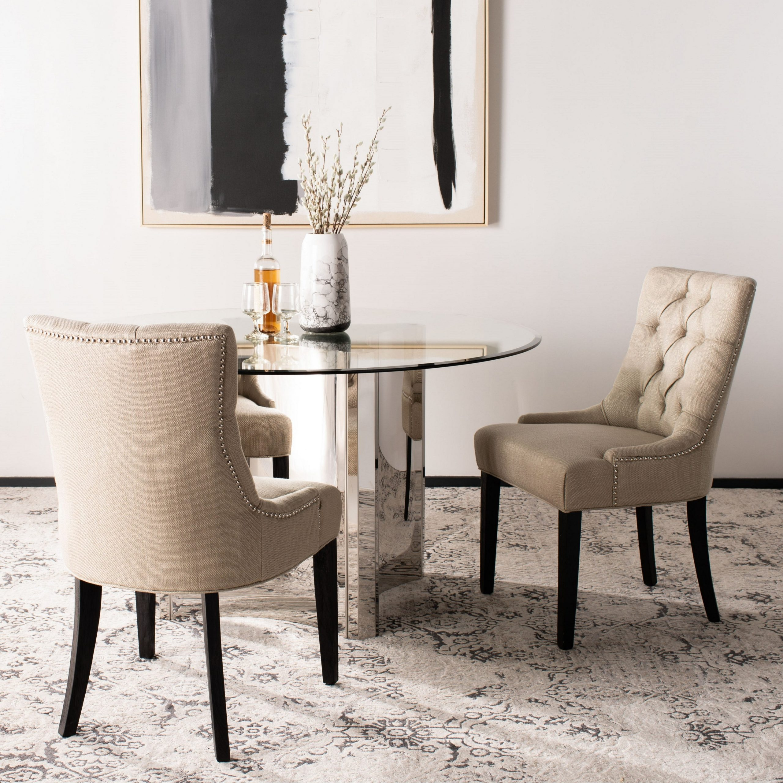 """Most Recent Madison Avenue Tufted Cotton Upholstered Dining Chairs (set Of 2) In Safavieh Dining Abby Viscose Blend Dining Chairs (set Of 2) – 22""""x23.8""""x (View 14 of 20)"""