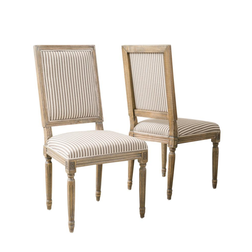 Most Recent Noble House Madison Dark Coffee Stripe Fabric Weathered Oak Dining Chair (set Of 2) 3881 – The Home Depot Throughout Madison Avenue Tufted Cotton Upholstered Dining Chairs (set Of 2) (View 18 of 20)