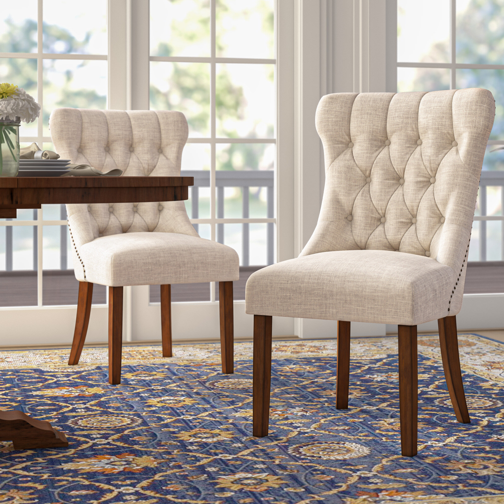 Most Recent Side Tufted Kitchen & Dining Chairs You'll Love In 2021 In Madison Avenue Tufted Cotton Upholstered Dining Chairs (set Of 2) (View 3 of 20)