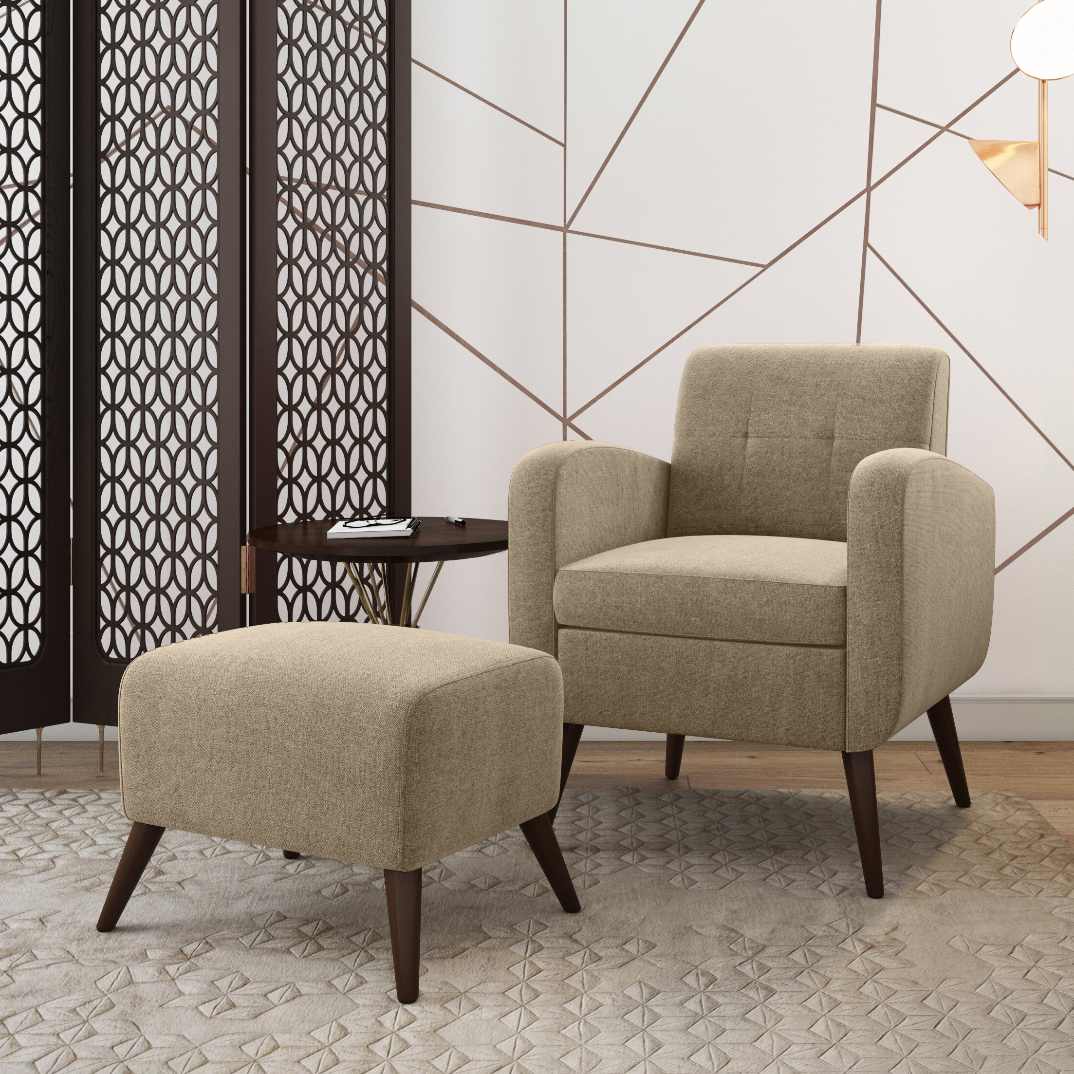 Most Recently Released Annegret Faux Leather Barrel Chair And Ottoman Sets Within Brown Ottoman Included Accent Chairs You'll Love In (View 15 of 20)