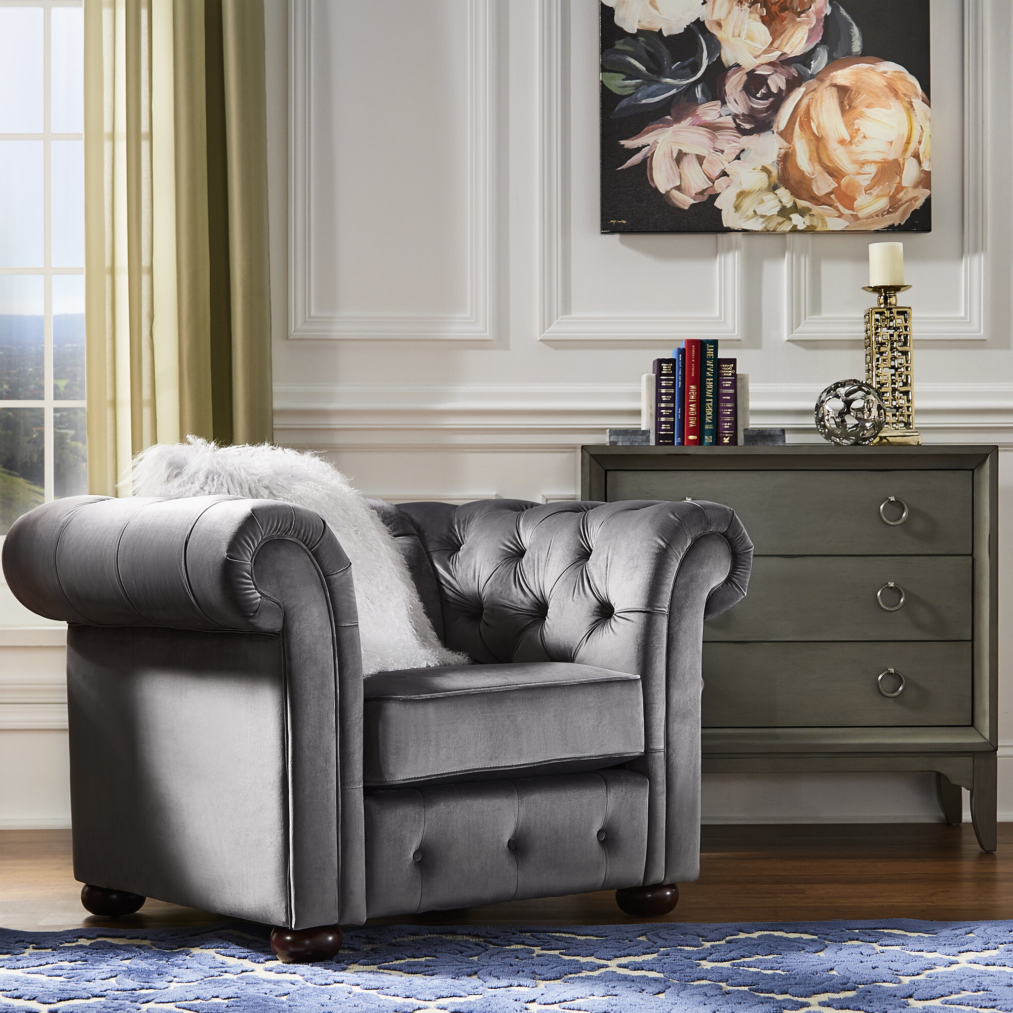 Most Recently Released Chesterfield Espresso Wood Accent Chairs You'll Love In 2021 Regarding Kjellfrid Chesterfield Chairs (View 17 of 20)