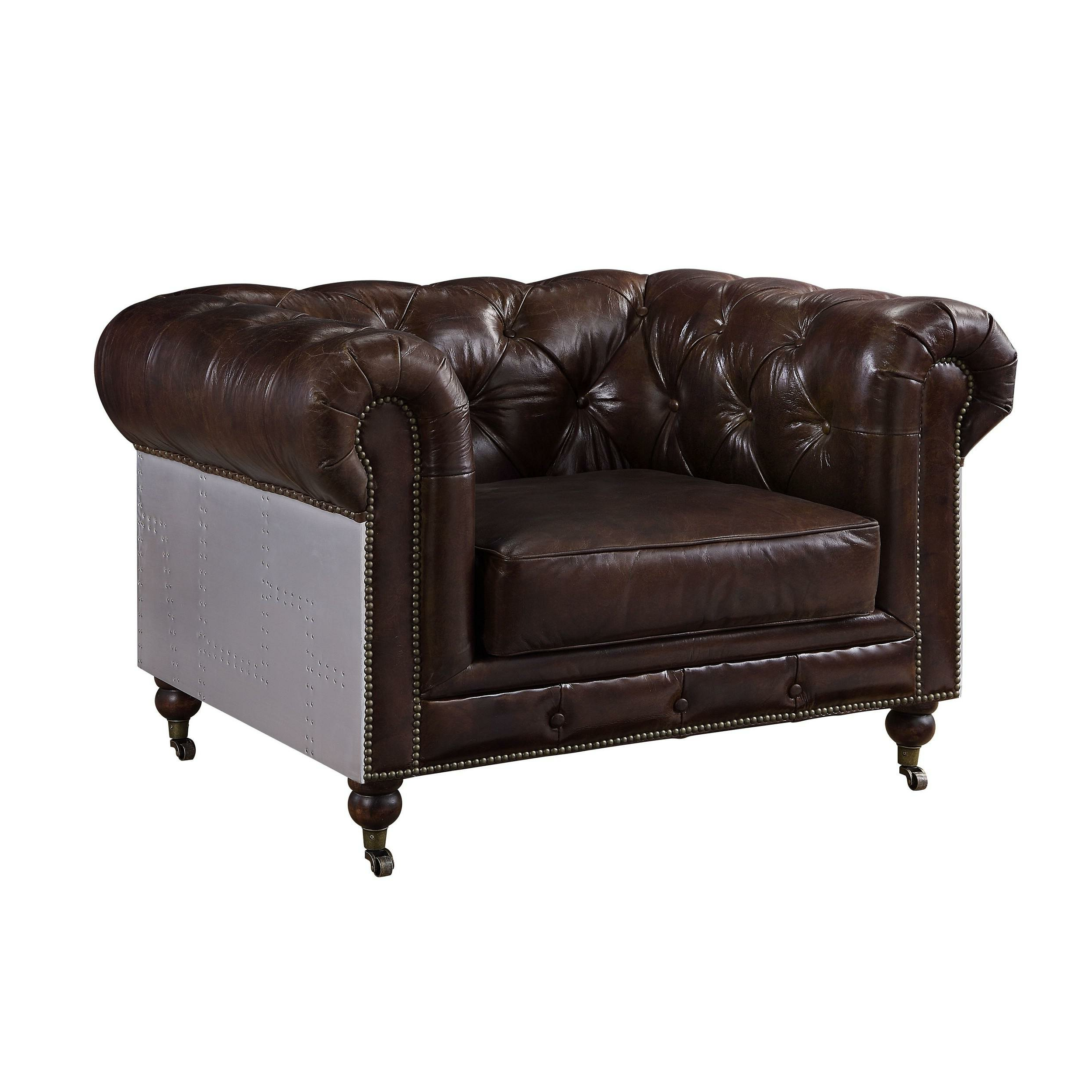 "Most Recently Released Litteral 39"" W Tufted Faux Leather Club Chair Pertaining To Lucea Faux Leather Barrel Chairs And Ottoman (View 9 of 20)"