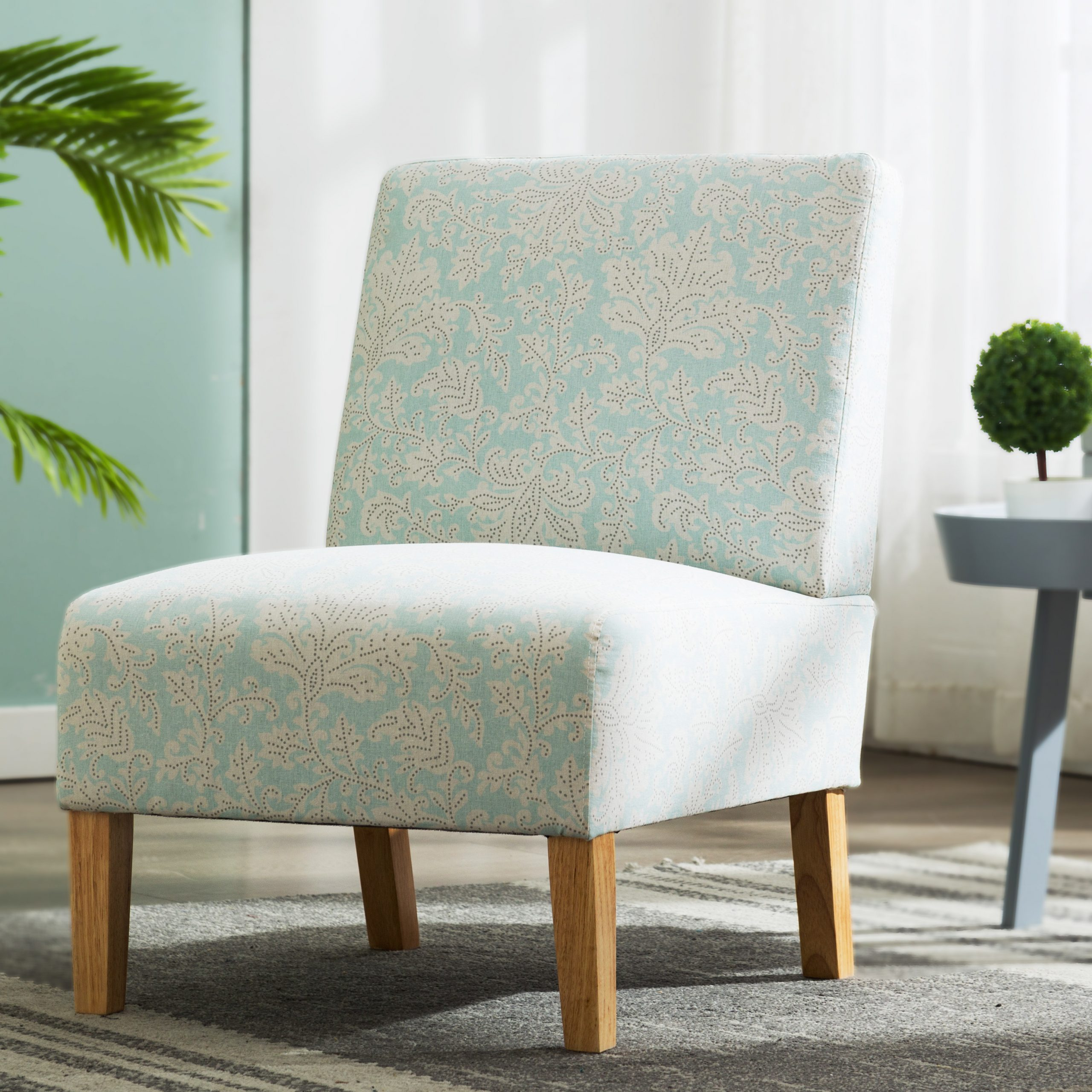 Most Up To Date Armless Chairs, Upholstered Armless Accent Fabric Chair With Wood Legs, Comfy Single Sofa Modern Printed Accent Chair For Living Room, Bedroom Intended For Armless Upholstered Slipper Chairs (View 19 of 20)