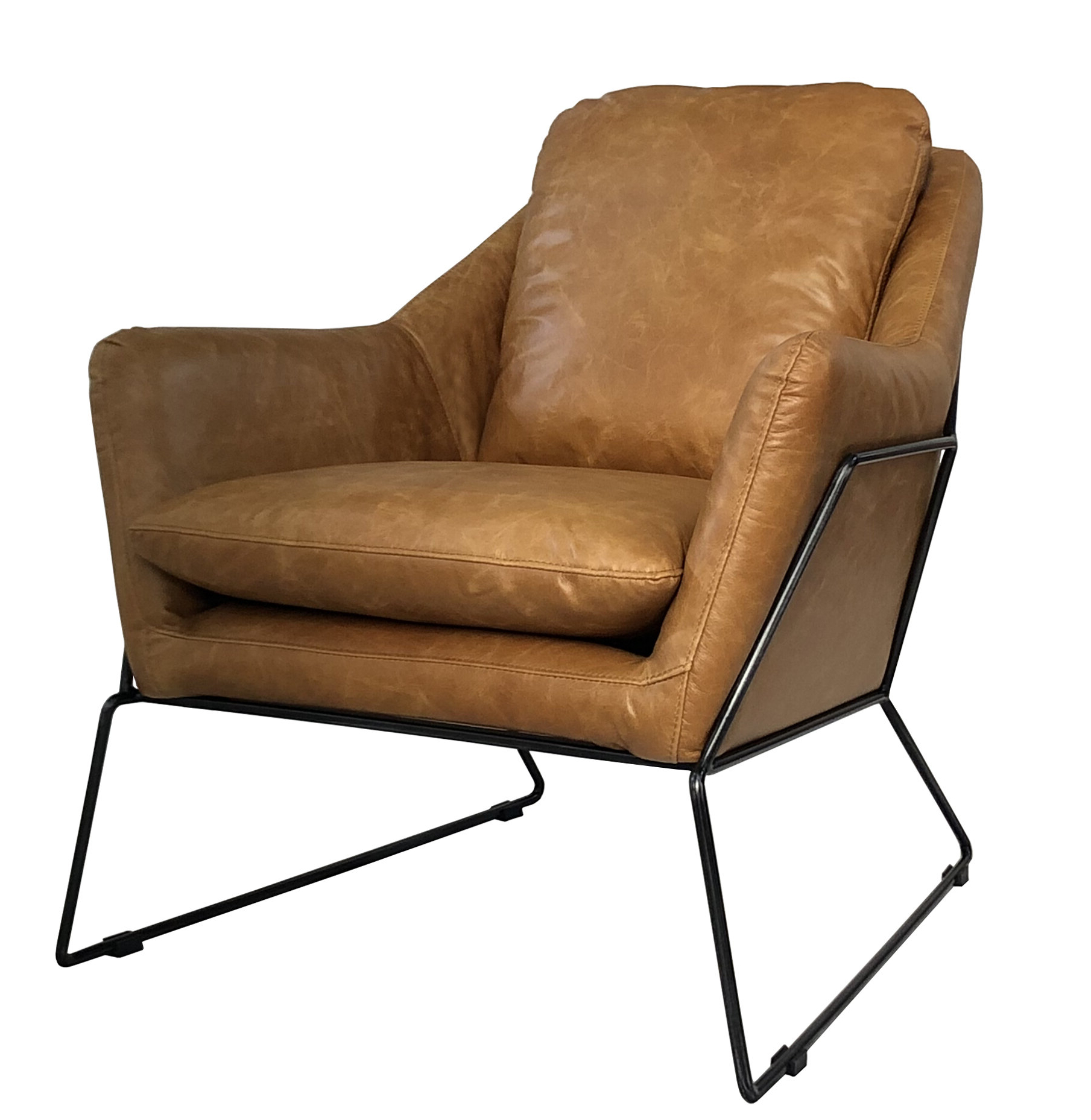 """Most Up To Date Brandenburg 29"""" W Top Grain Leather Lounge Chair With Regard To Sheldon Tufted Top Grain Leather Club Chairs (View 12 of 20)"""