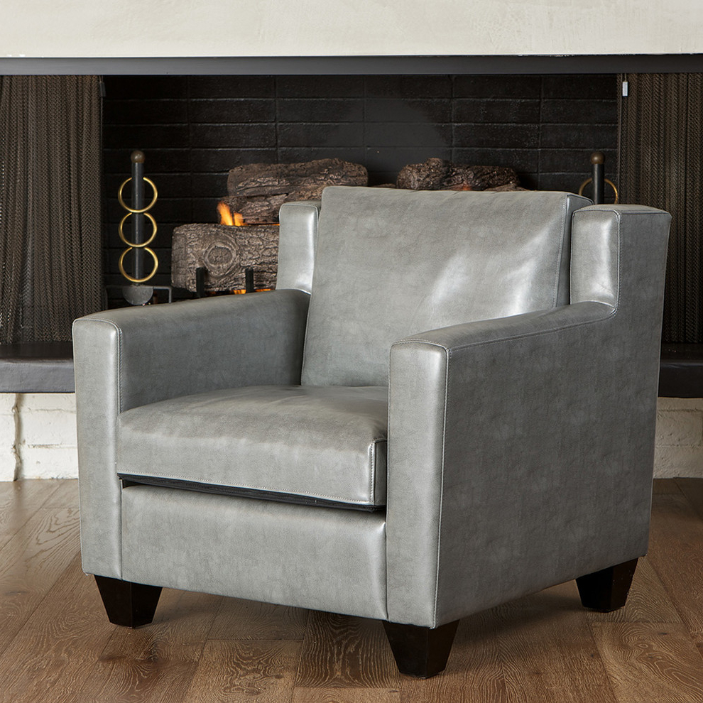 Most Up To Date Caldwell Grey Leather Club Chair – Modern – Living Room Within Caldwell Armchairs (View 20 of 20)