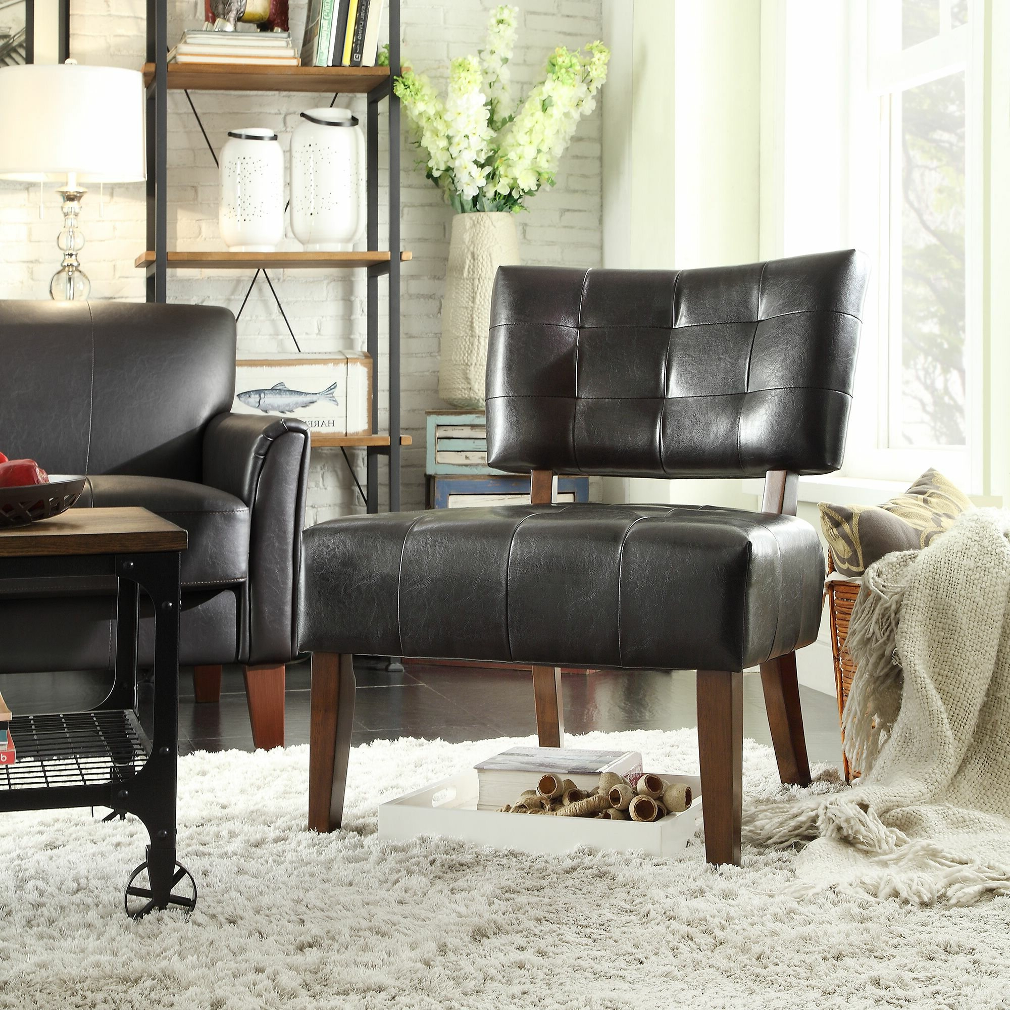 Most Up To Date Perz Tufted Faux Leather Convertible Chairs Throughout Heslington Faux Leather Side Chair (View 10 of 20)