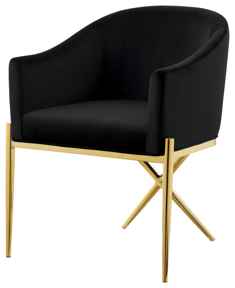 Most Up To Date Xavier Velvet Dining Chair, Black, Gold Legs Pertaining To Erasmus Velvet Side Chairs (set Of 2) (View 20 of 20)