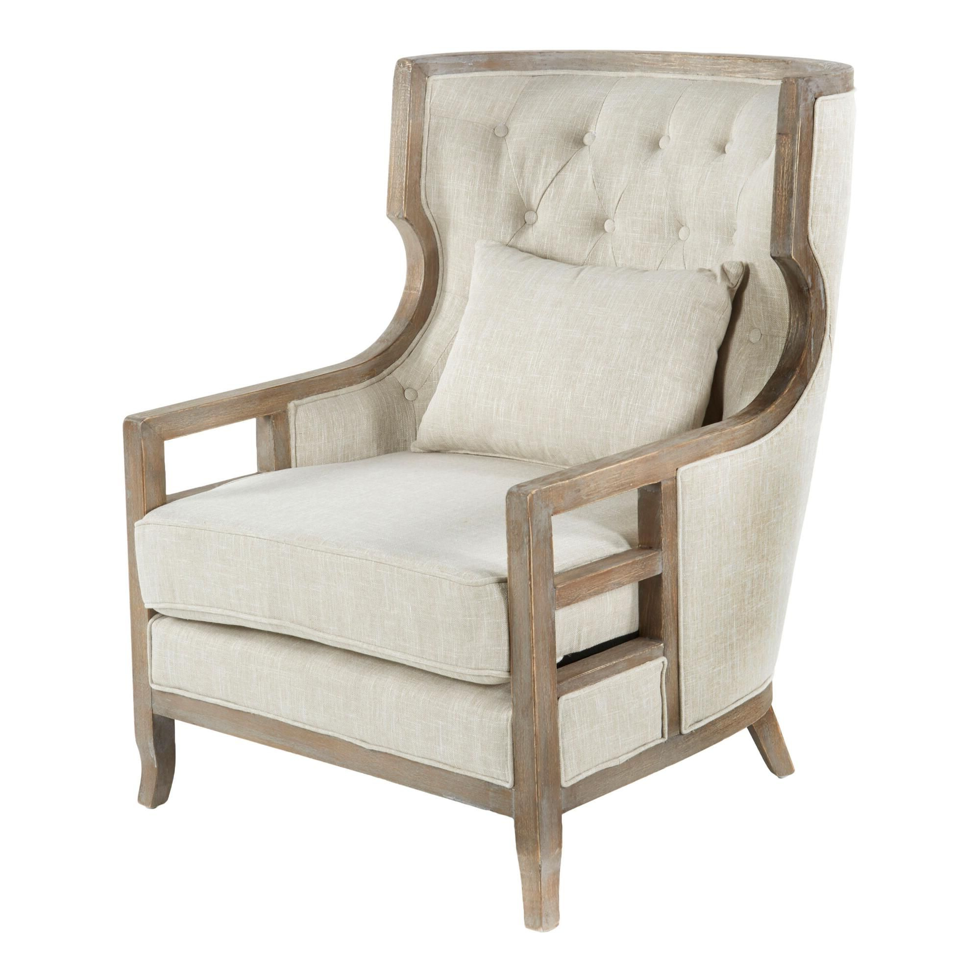 Myia Armchairs Regarding Widely Used Beige Tufted Linen And Wood Willa Upholstered Armchair (View 17 of 20)