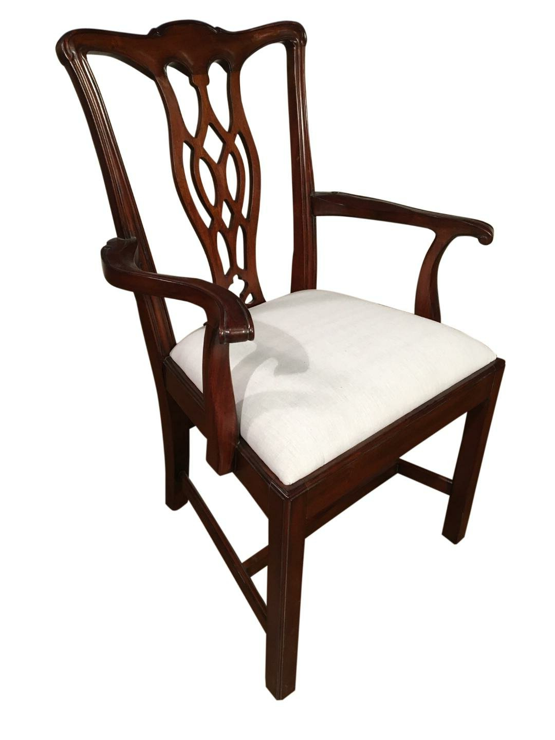 Nestor Wingback Chairs Pertaining To Well Known Muslin Fabric Chippendale Back Arm Chair In Brown (View 20 of 20)